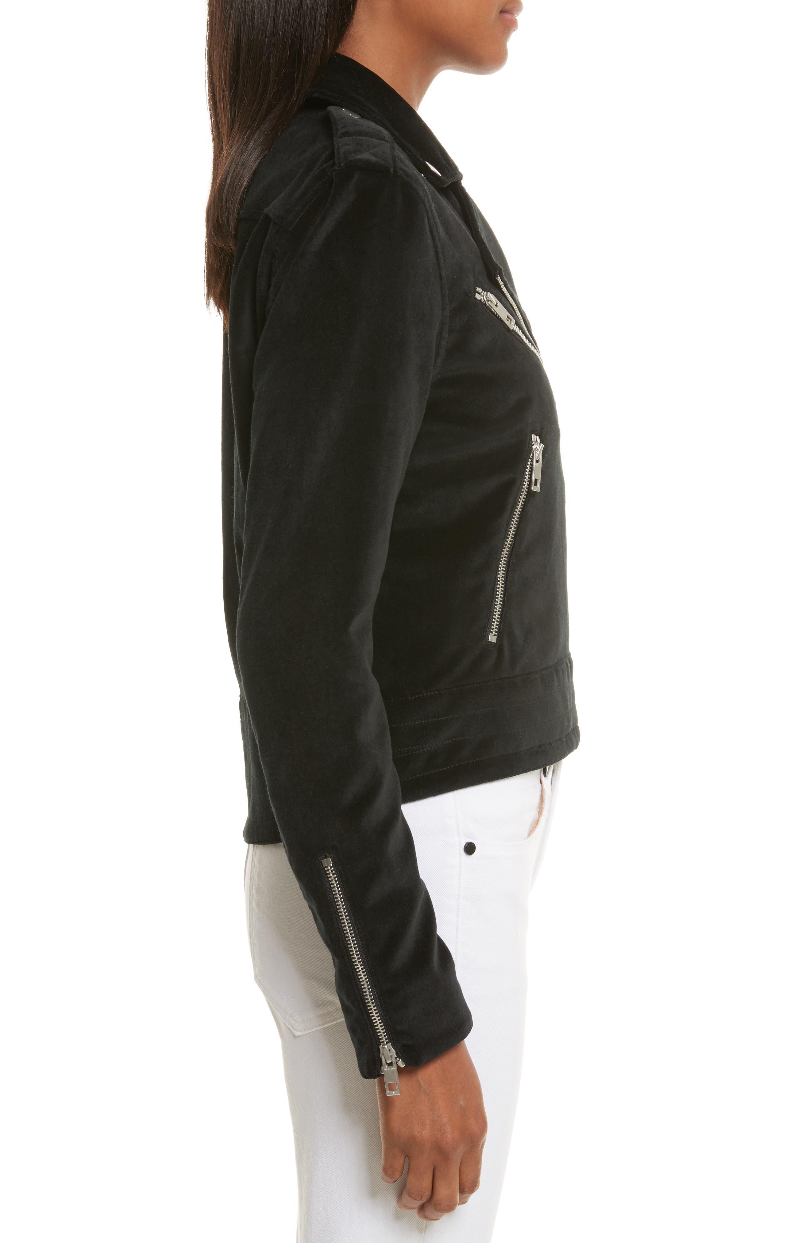 Mercer Velvet Moto Jacket,                             Alternate thumbnail 3, color,                             001