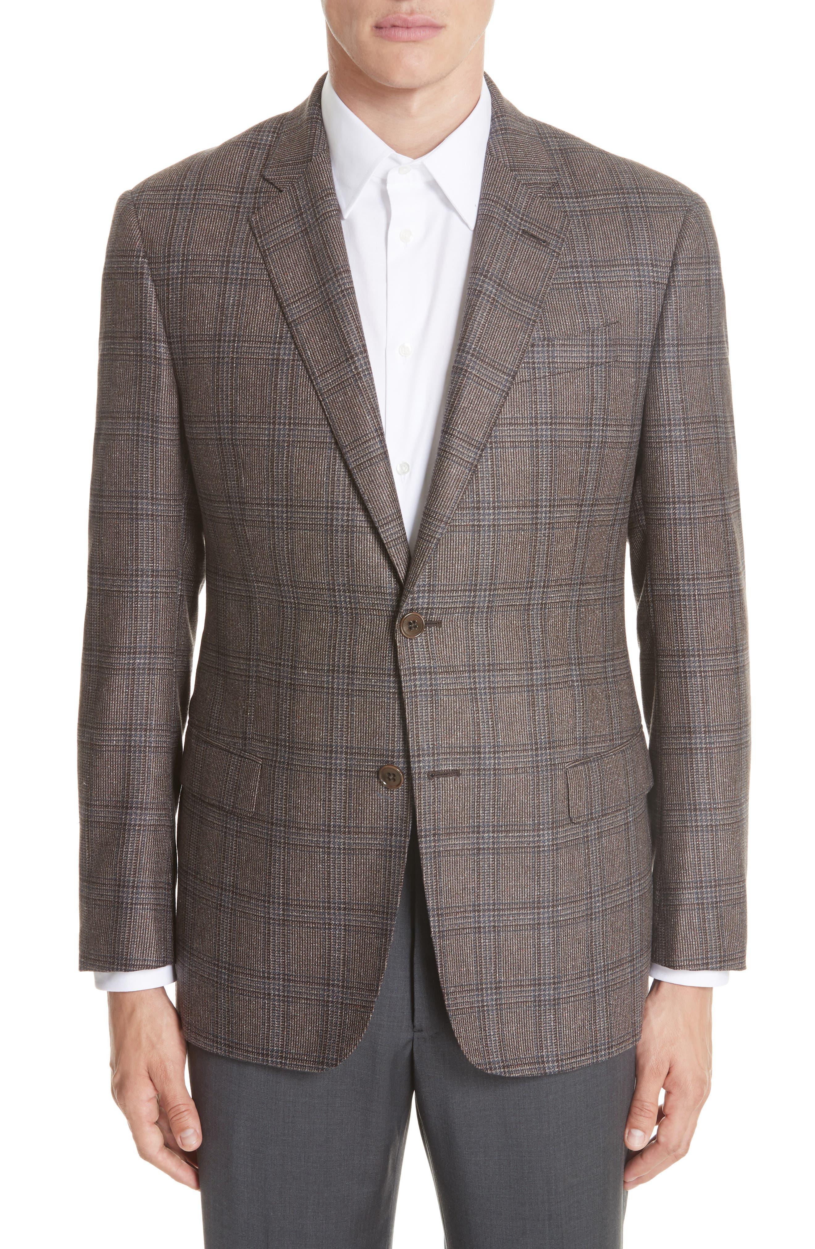 G Line Trim Fit Plaid Silk & Wool Sport Coat,                             Main thumbnail 1, color,                             BROWN