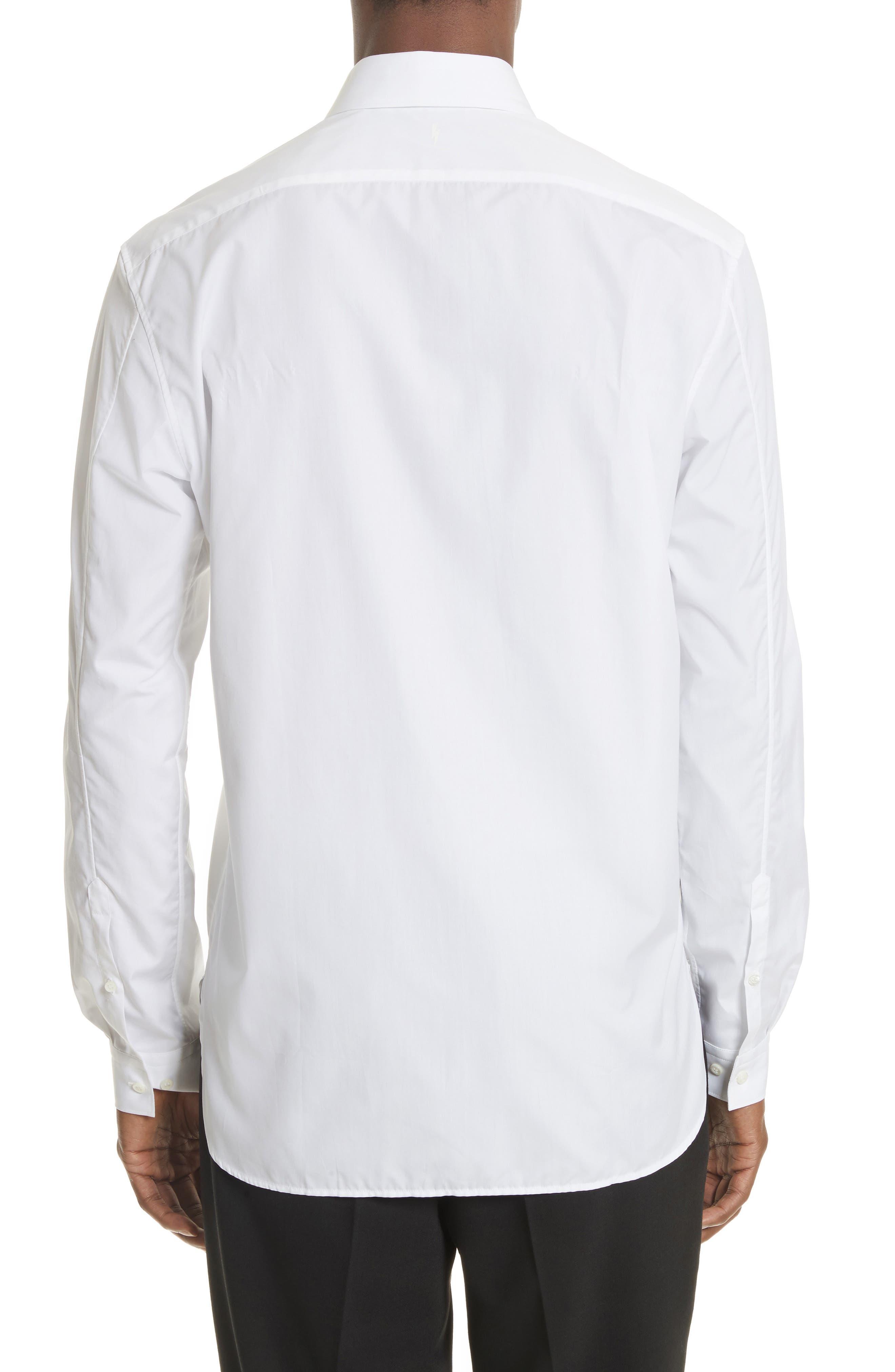 Lightning Bolt Print Sport Shirt,                             Alternate thumbnail 3, color,                             100