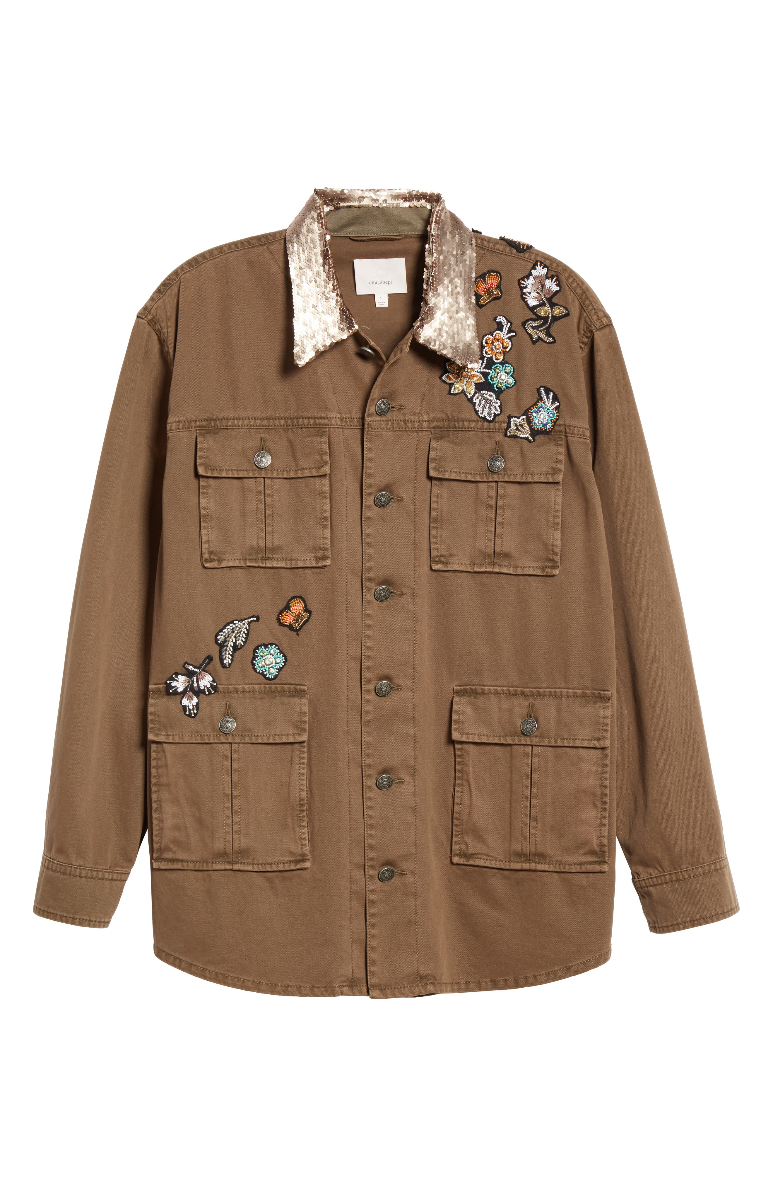 Canyon Sequin Patch Jacket,                             Alternate thumbnail 6, color,                             OLIVE