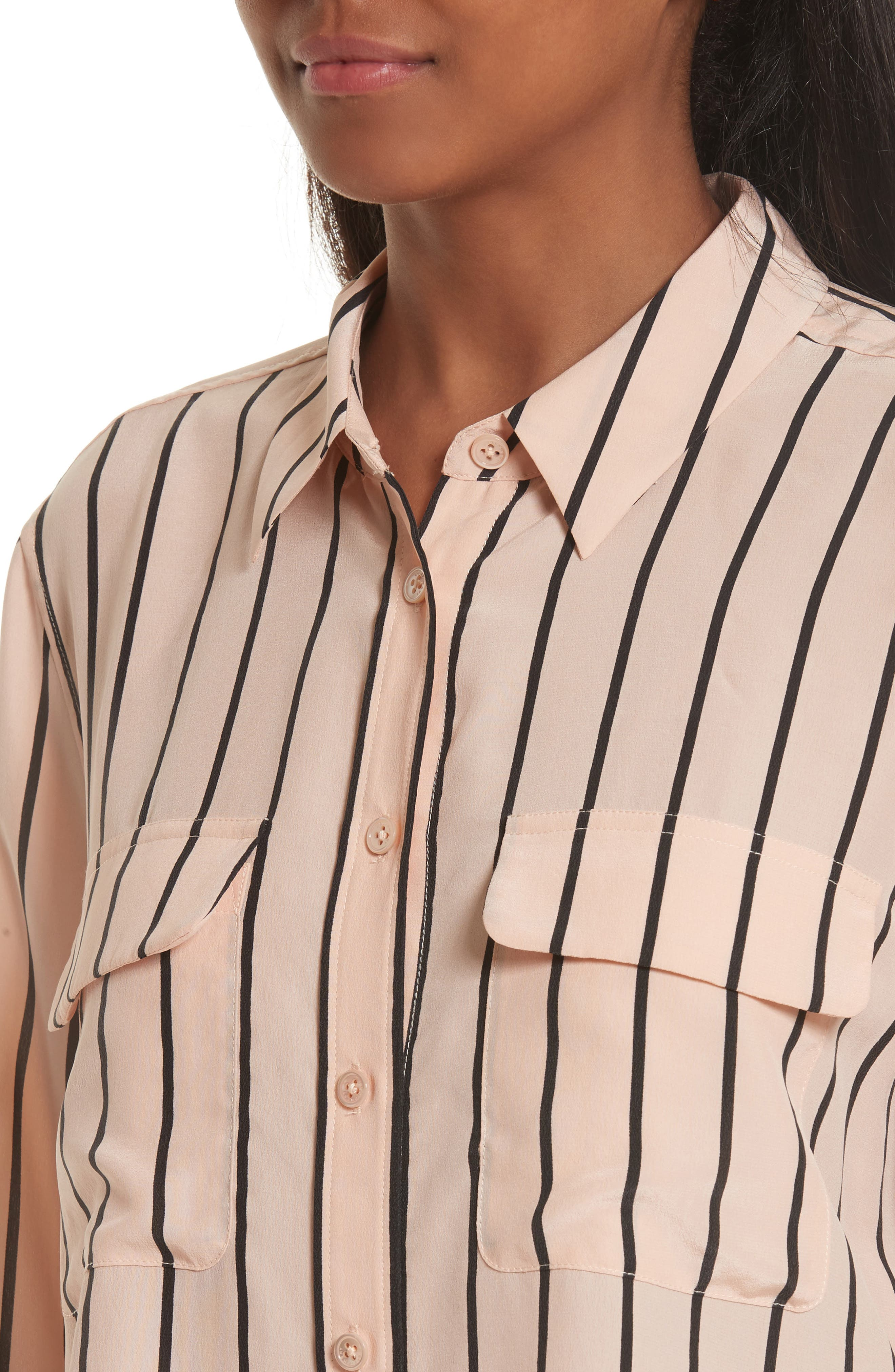 Signature Crop Stripe Silk Shirt,                             Alternate thumbnail 4, color,                             282