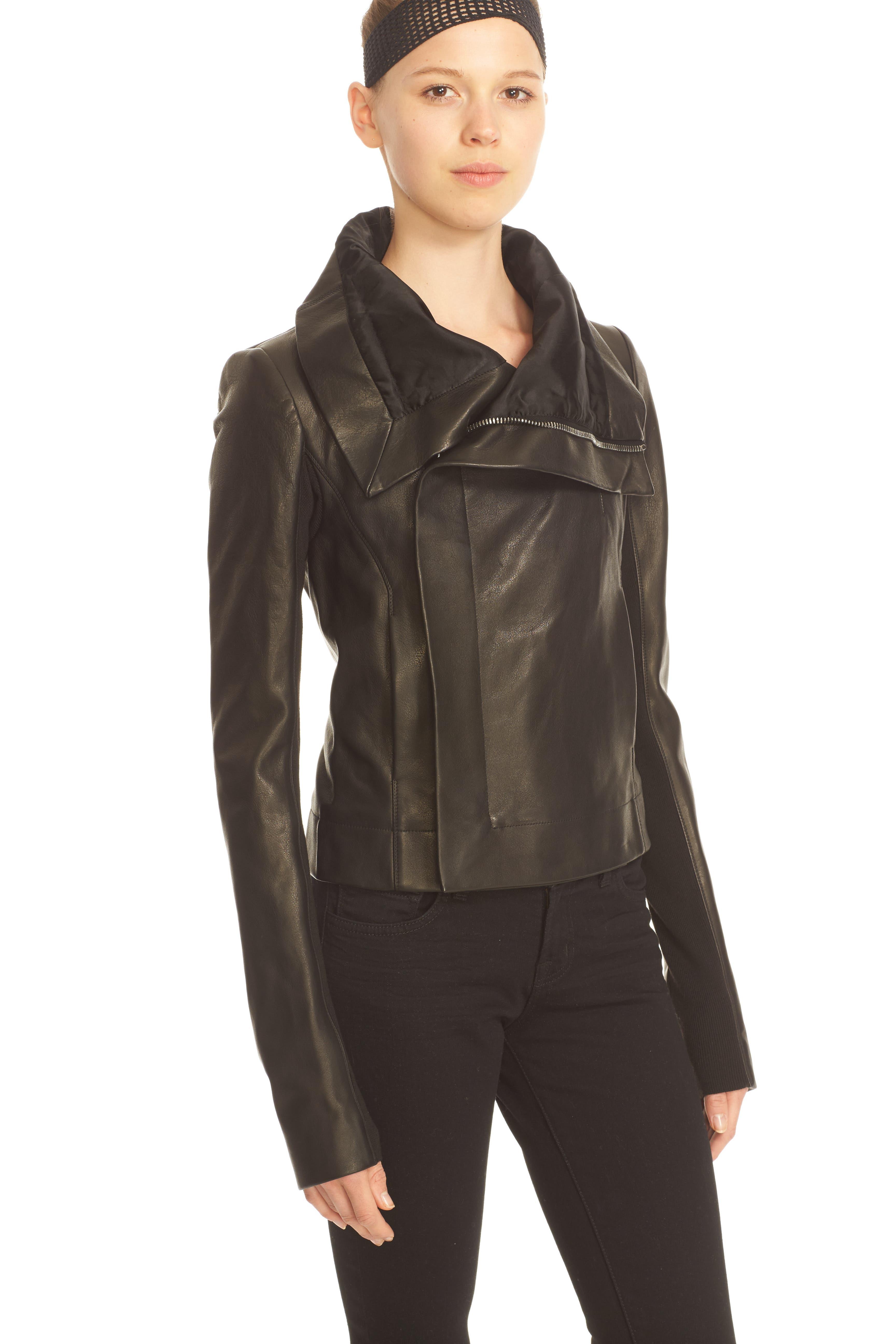 RICK OWENS,                             'Clean' Leather Biker Jacket,                             Alternate thumbnail 4, color,                             001