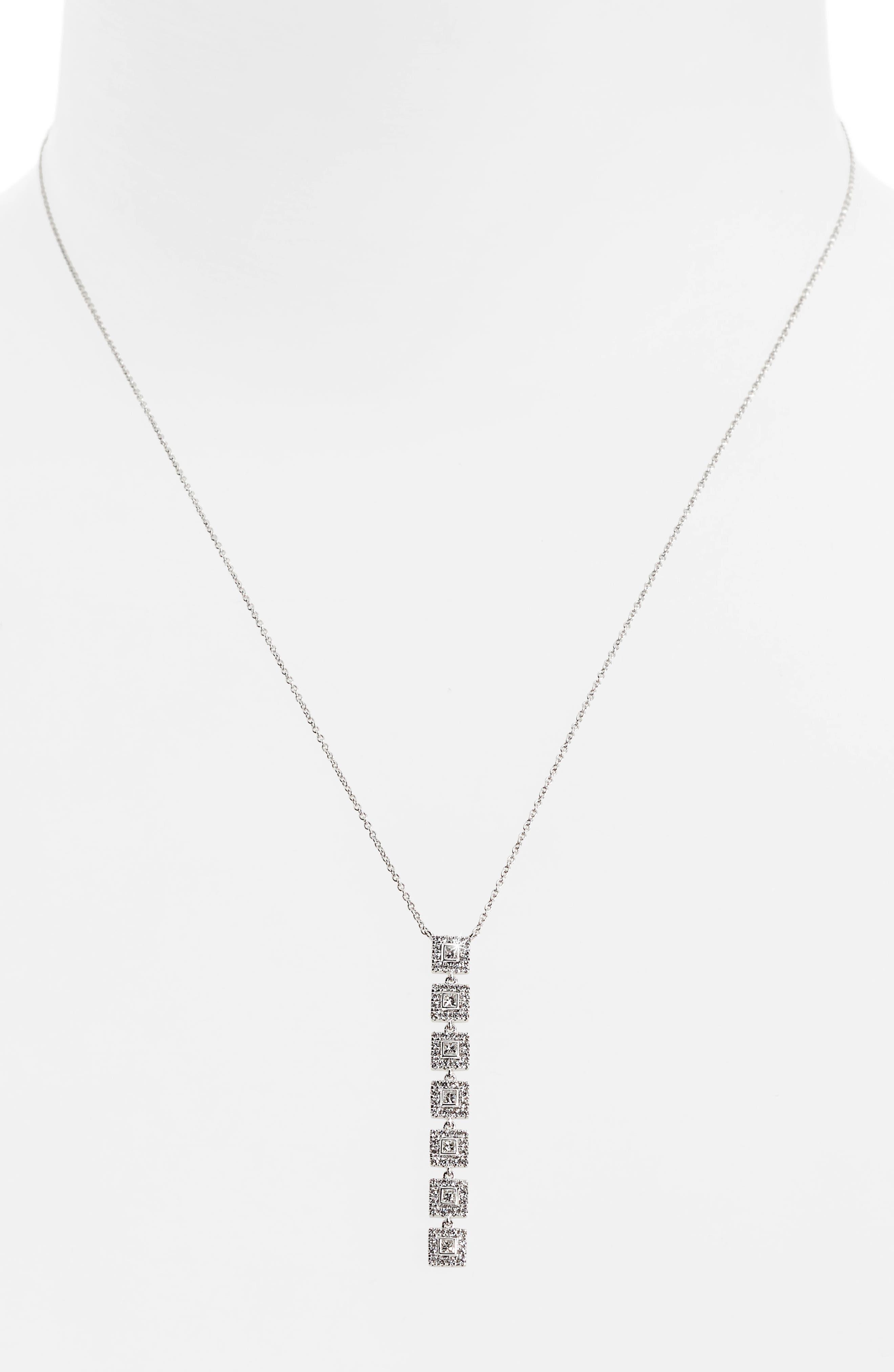 Amara Diamond Pendant Necklace,                             Alternate thumbnail 2, color,                             WHITE GOLD