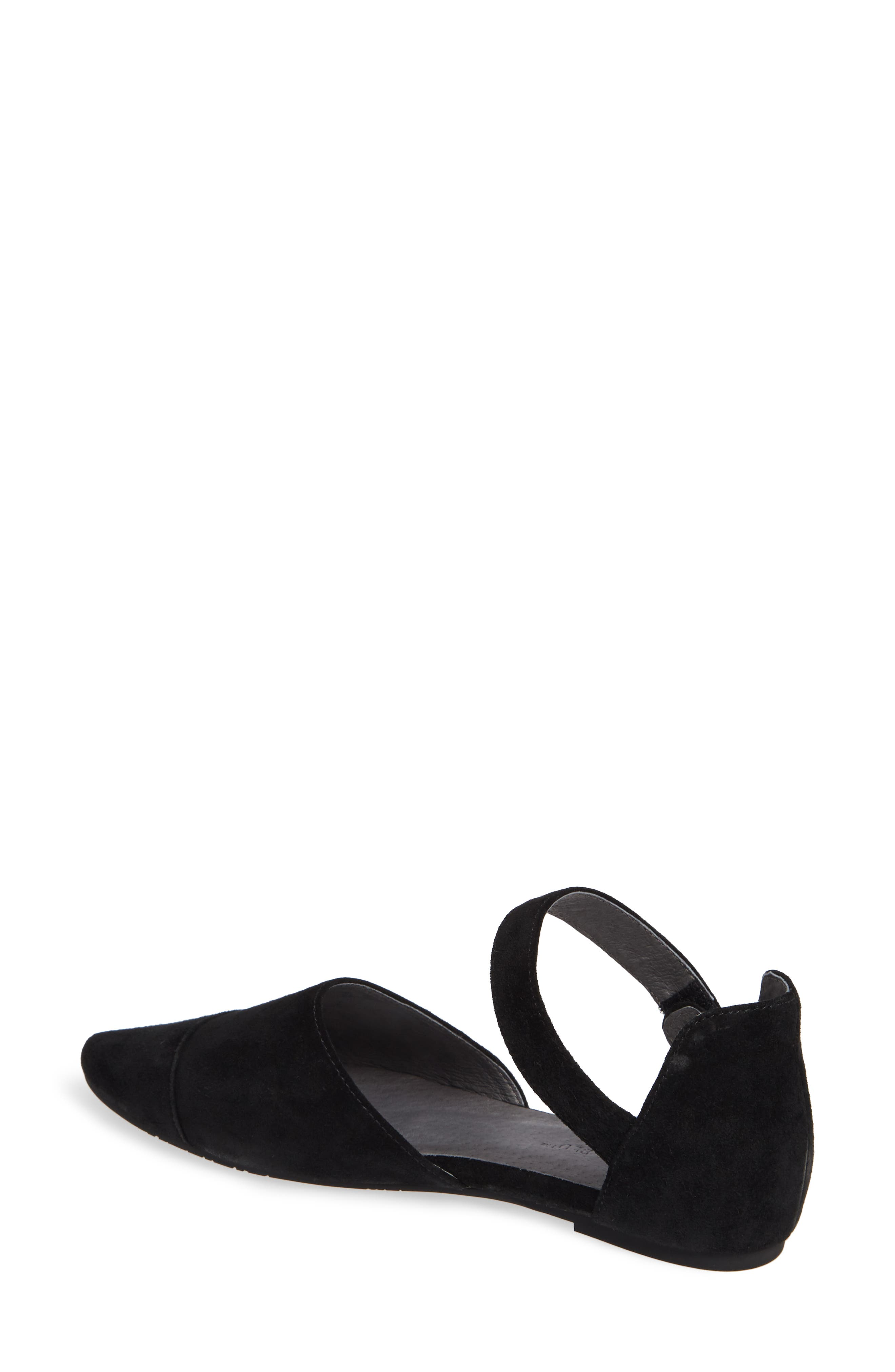 Gaia Pointy Toe Flat,                             Alternate thumbnail 2, color,                             BLACK SUEDE