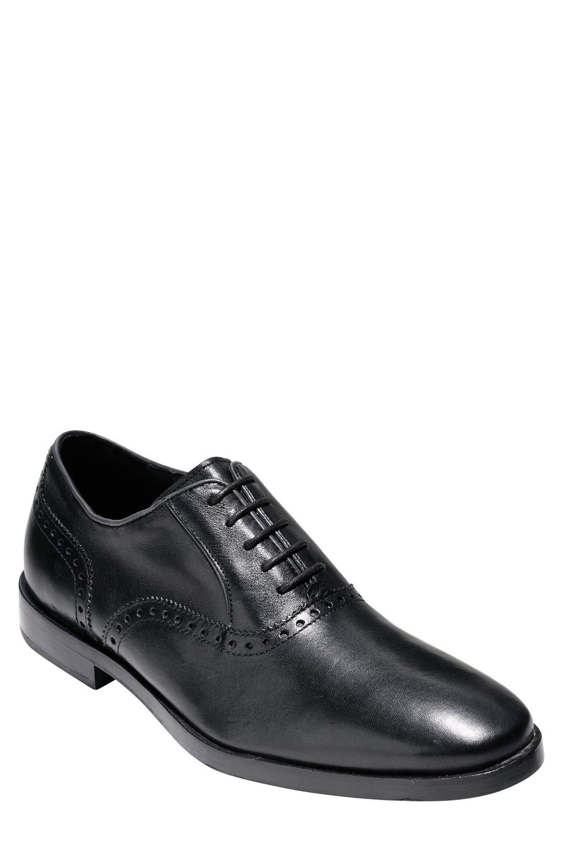 Hamilton Grand Plain-Toe Oxford, Black in Black Leather