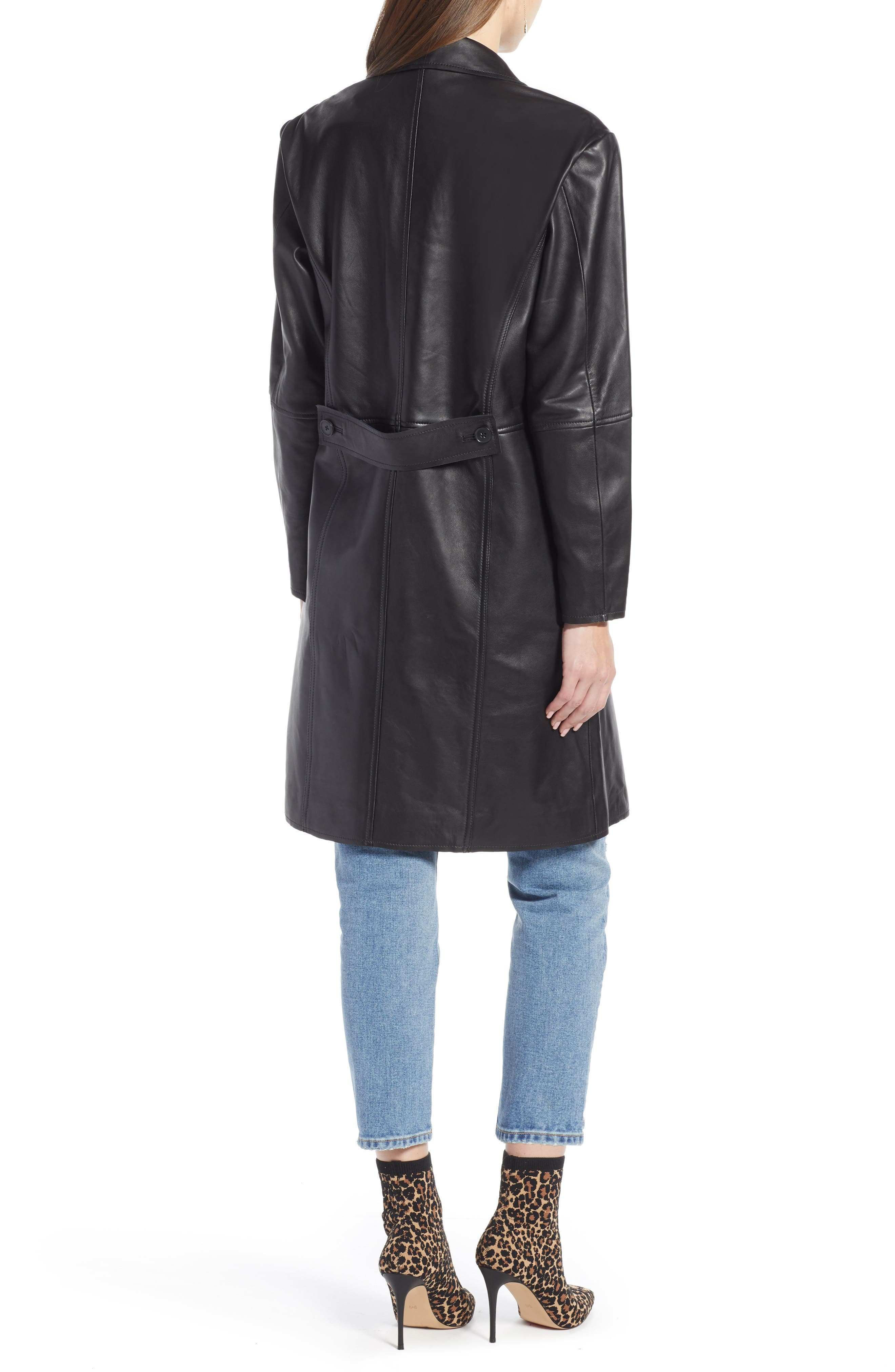 Double Breasted Leather Coat,                             Alternate thumbnail 2, color,                             BLACK