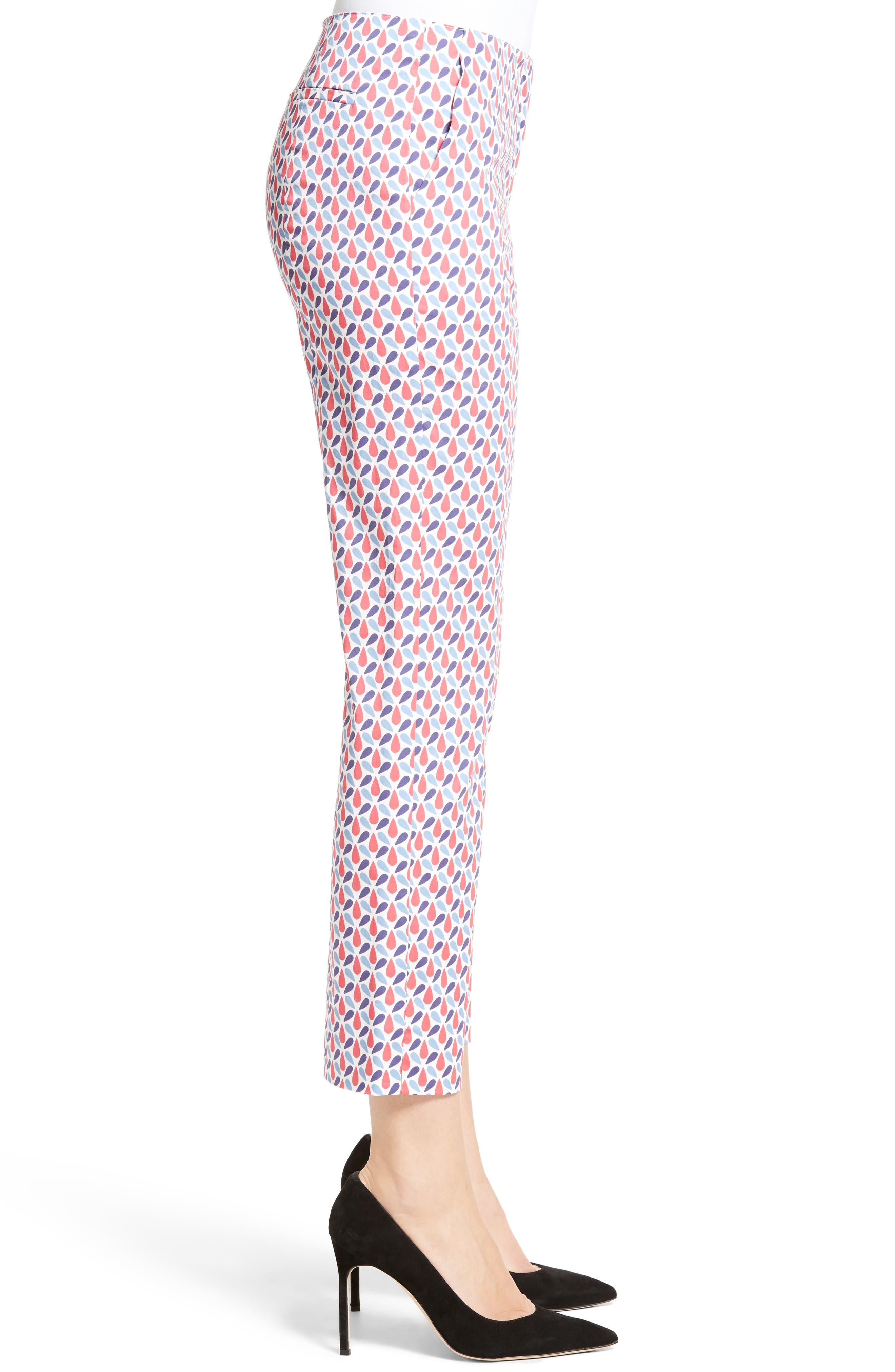 Print Stretch Cotton Ankle Pants,                             Alternate thumbnail 3, color,                             600