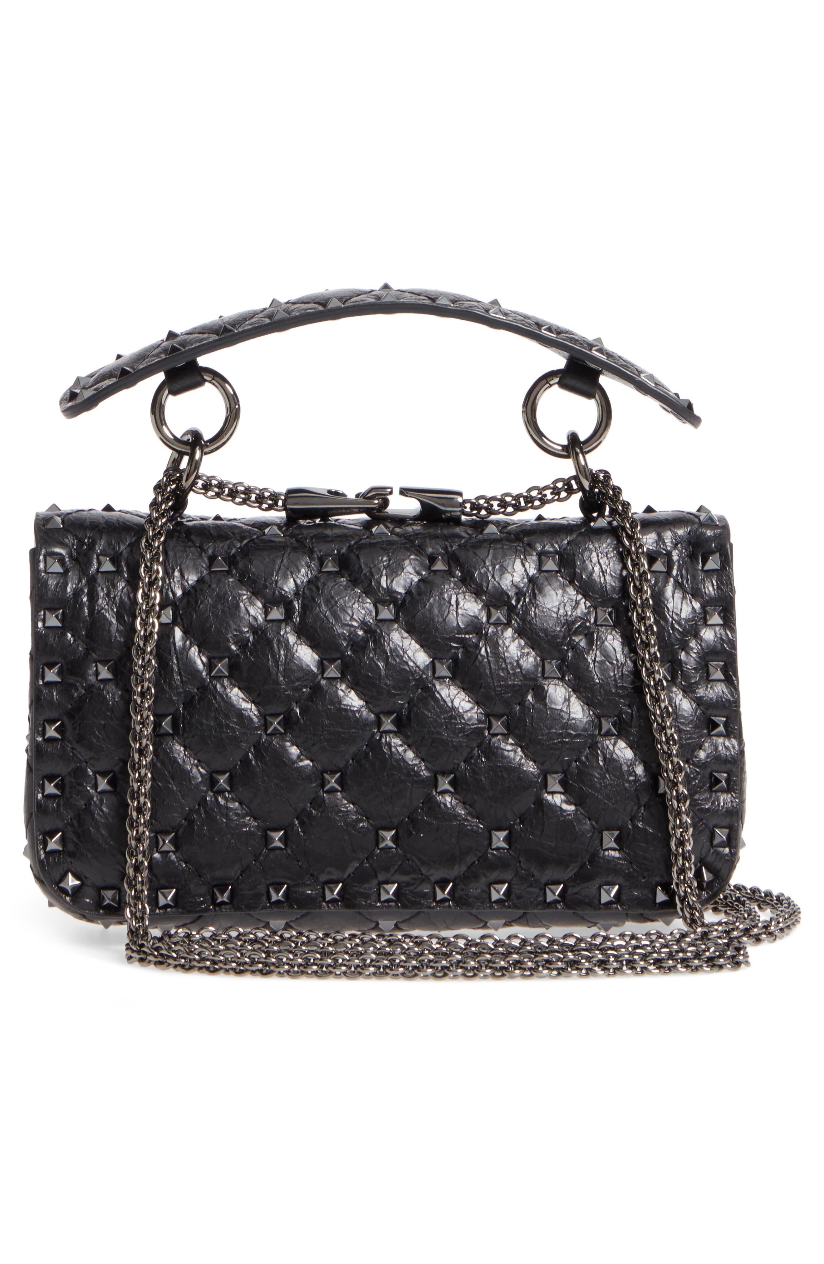 Vitello Rockstud Leather Shoulder Bag,                             Alternate thumbnail 3, color,                             001