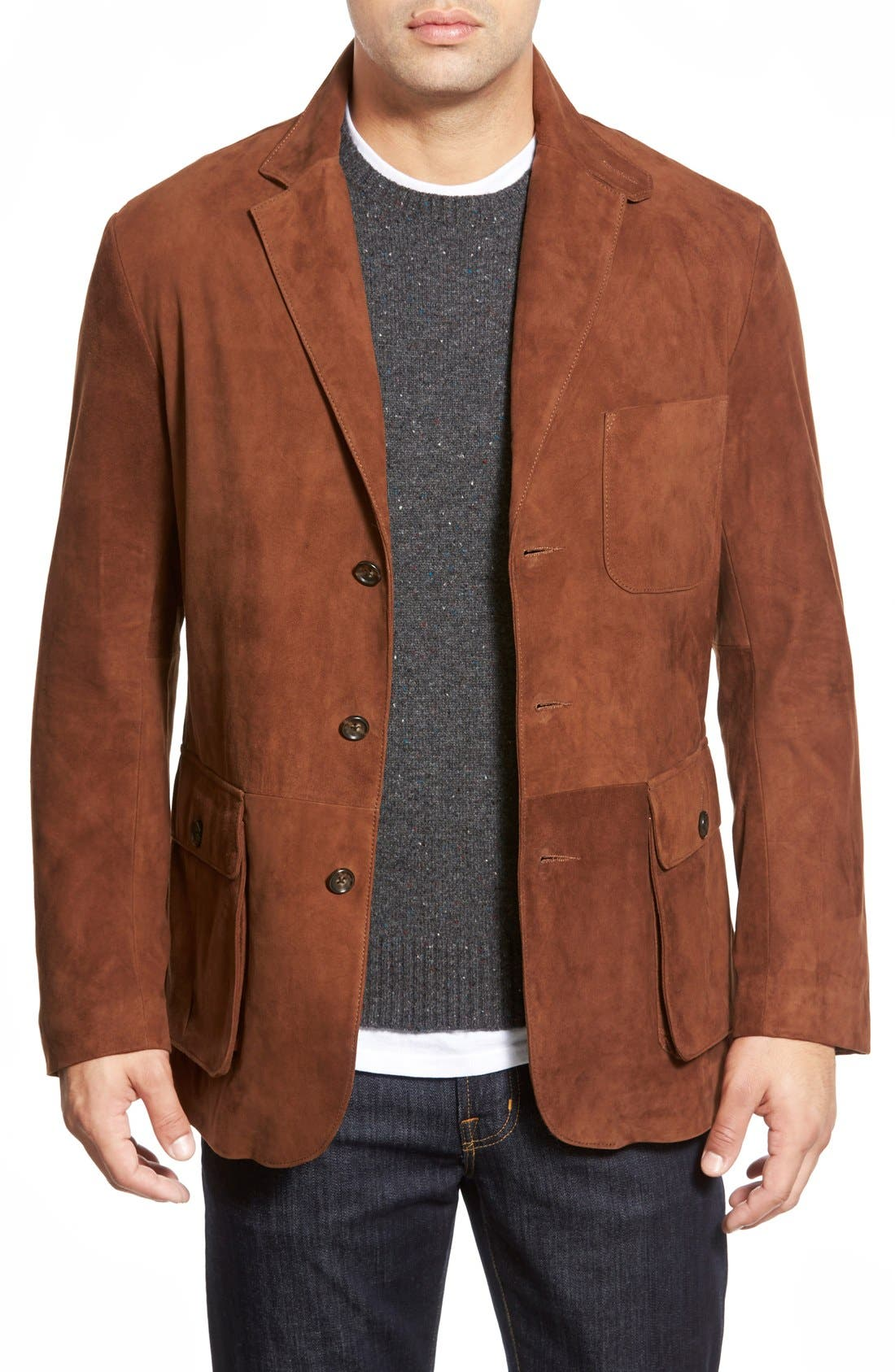 Slim Fit Suede Sport Coat,                             Main thumbnail 1, color,                             BRANDY
