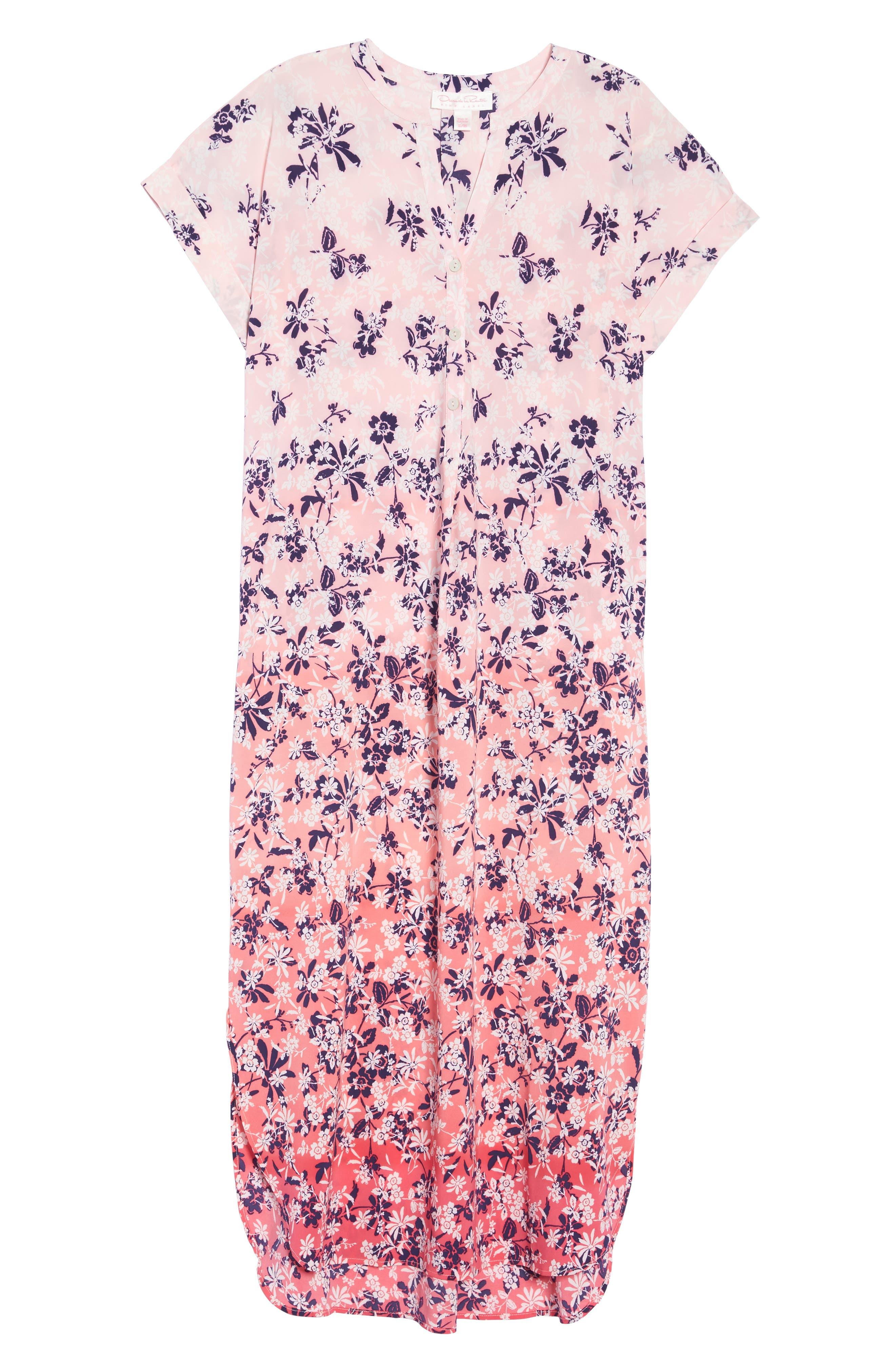 Sleepwear Floral Print Caftan,                             Alternate thumbnail 6, color,                             666