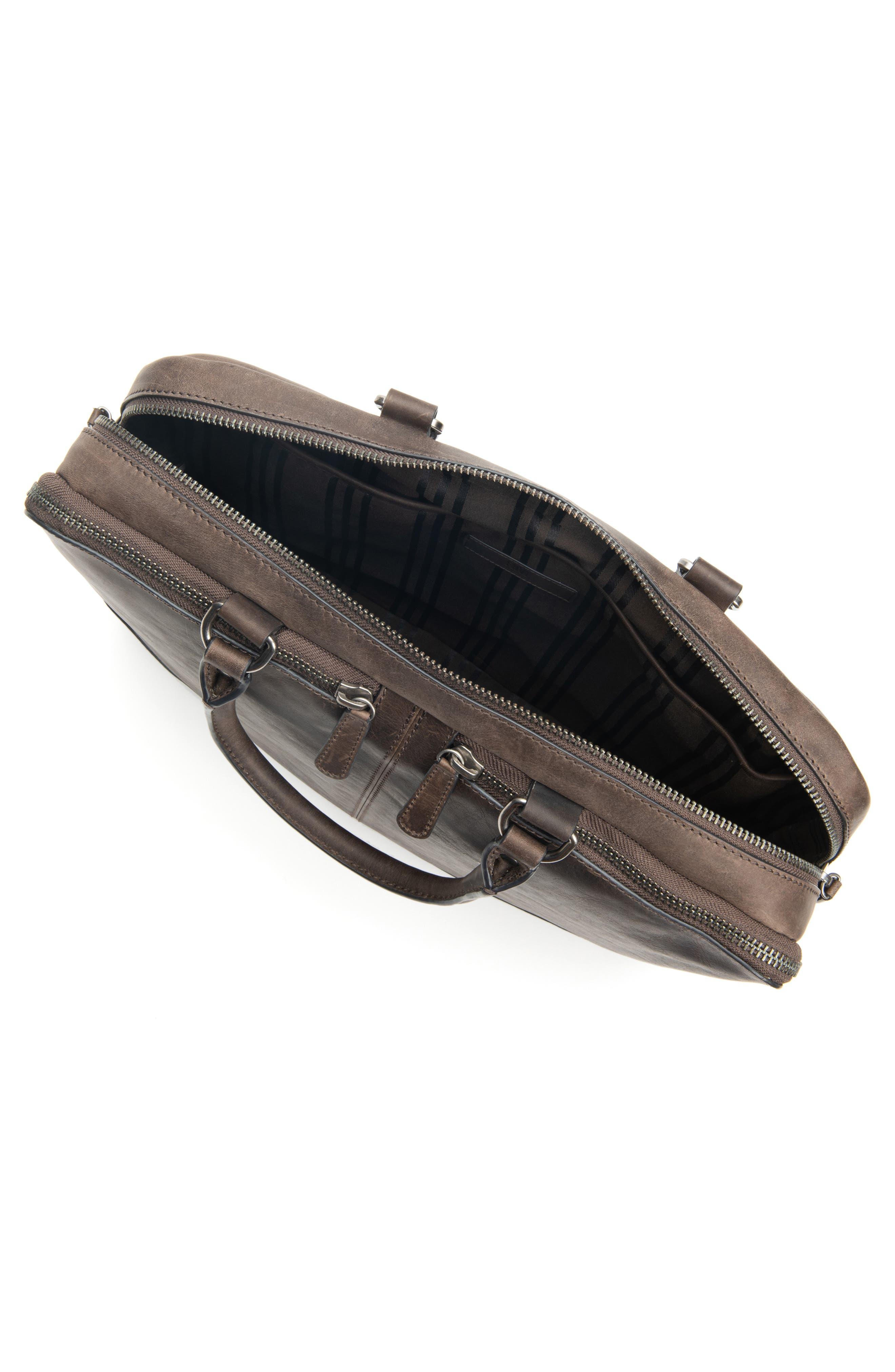 Logan Leather Briefcase,                             Alternate thumbnail 4, color,                             SLATE