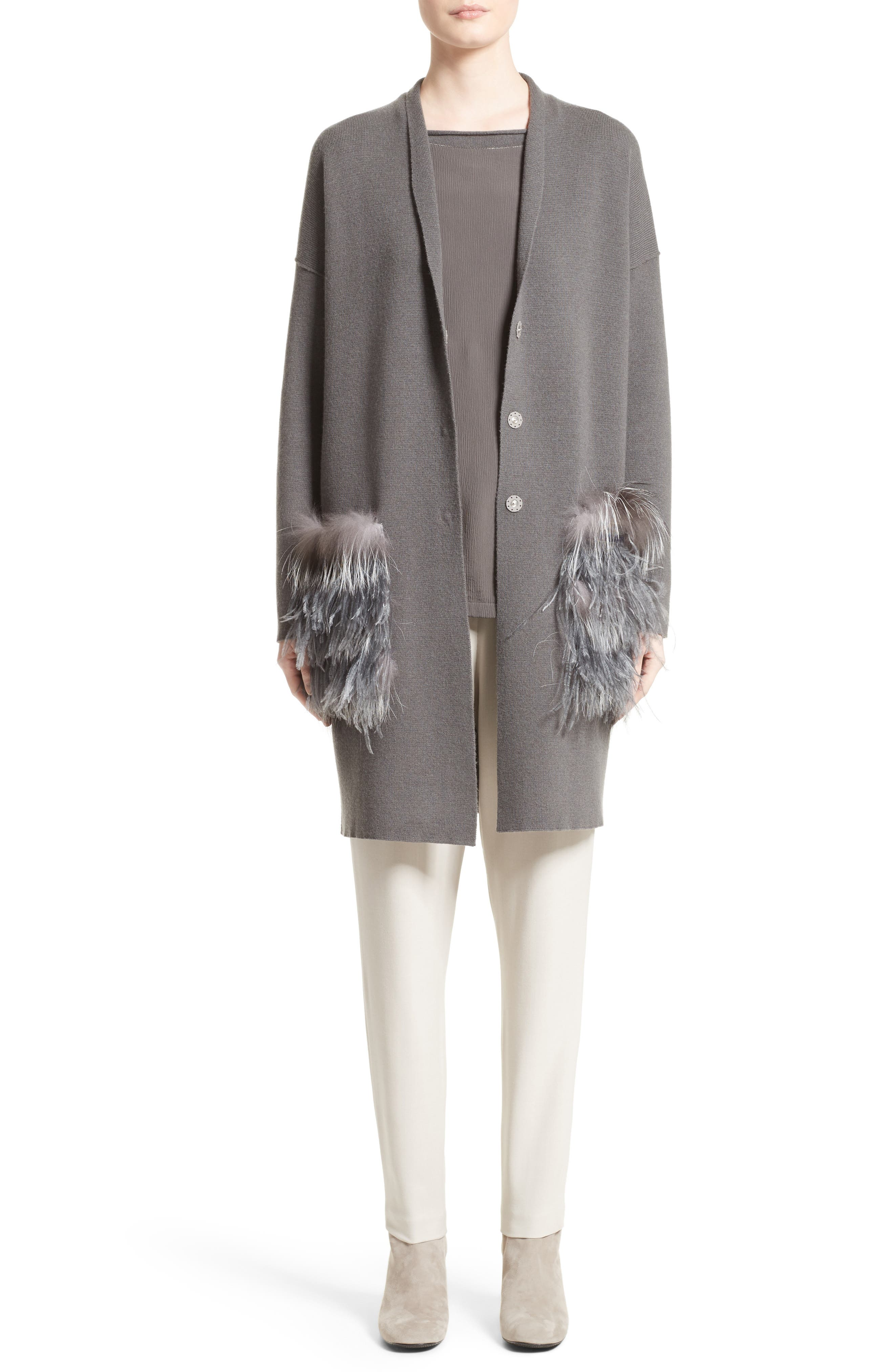 Wool, Silk & Cashmere Cardigan with Genuine Fox Fur & Ostrich Feather Trim,                             Alternate thumbnail 6, color,                             021