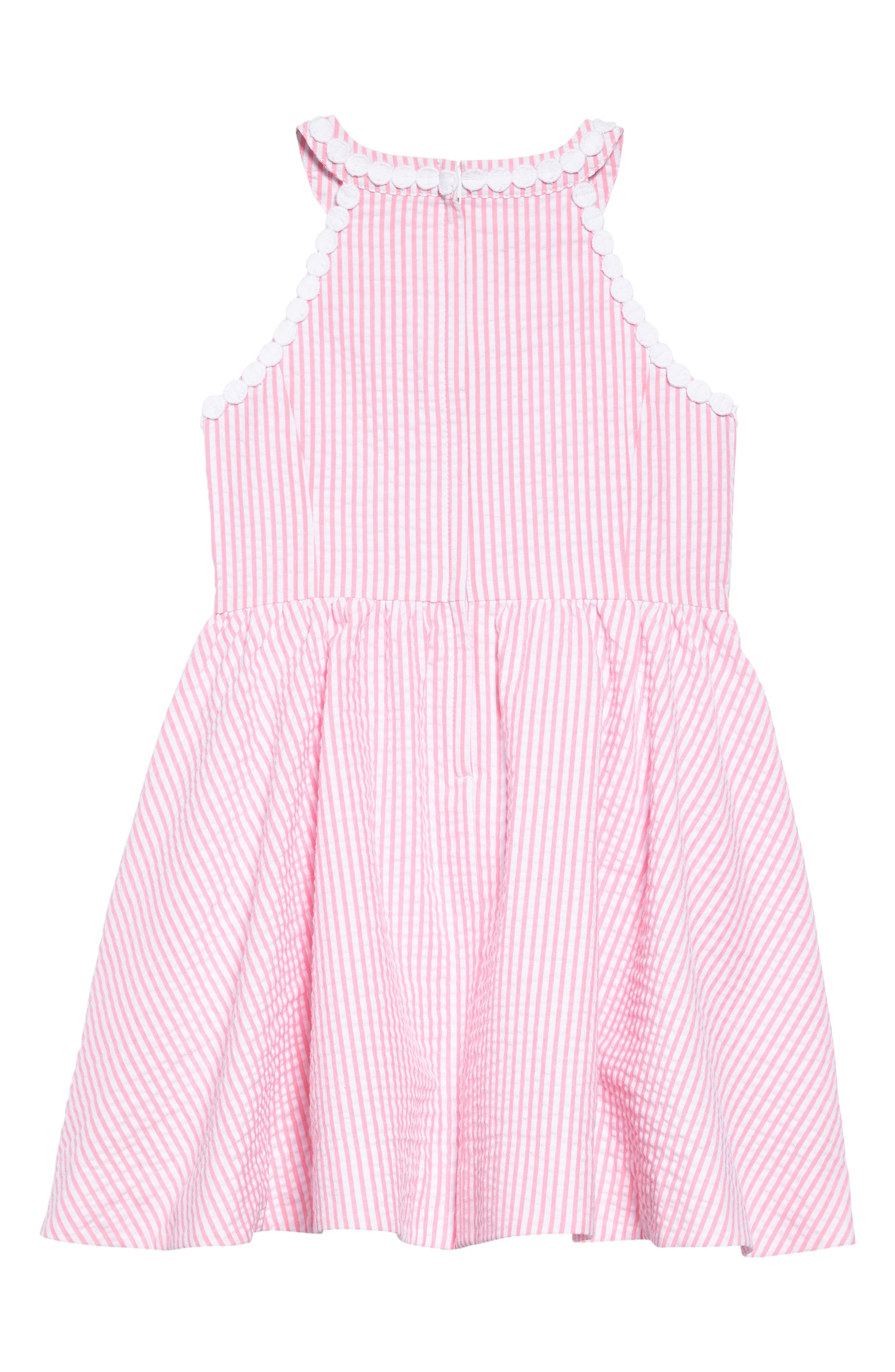 Kinley Fit & Flare Dress,                             Alternate thumbnail 2, color,                             PINK COSMO YARN DYED STRIPE