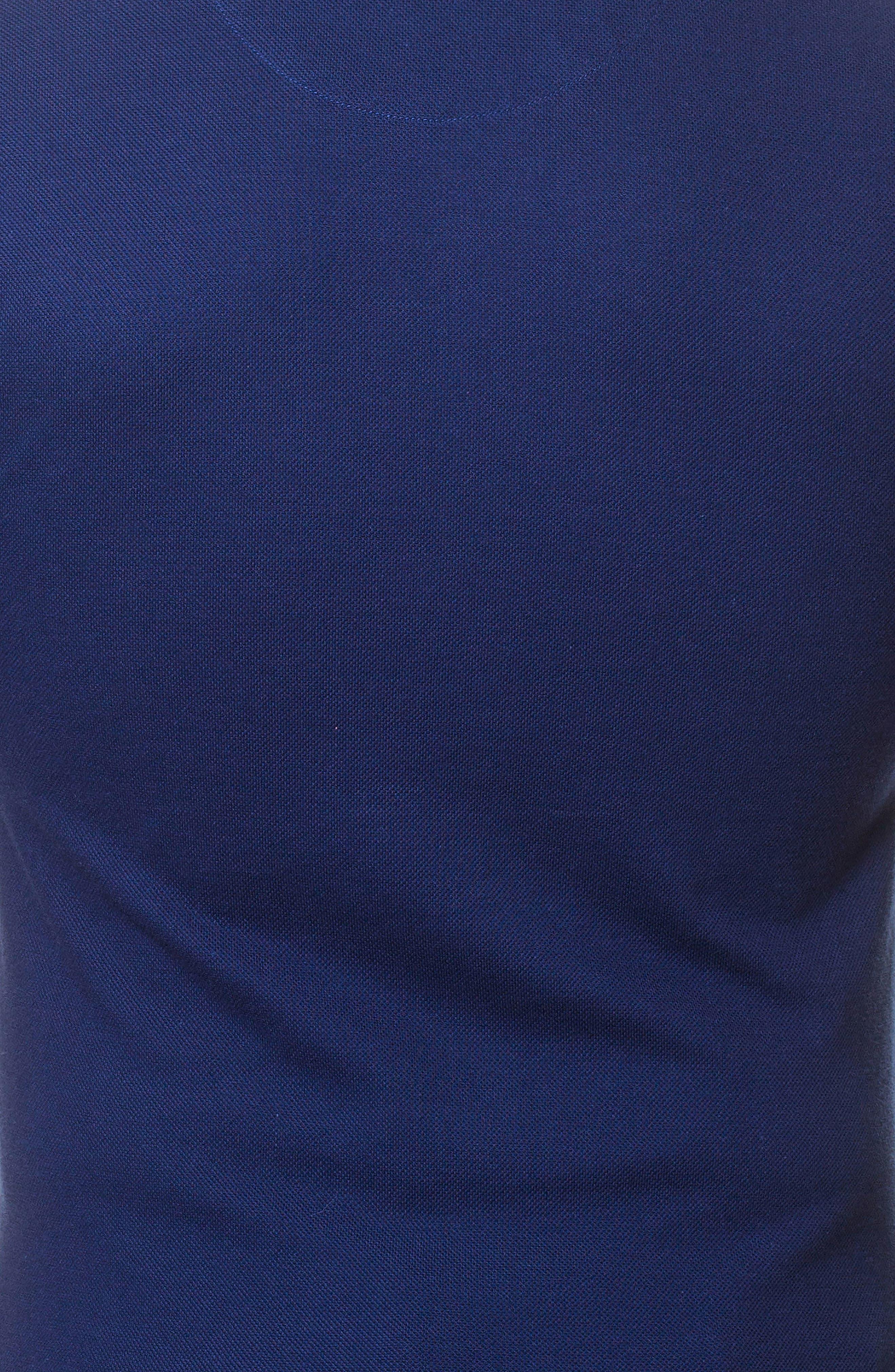 Short Sleeve V-Neck Piqué T-Shirt,                             Alternate thumbnail 3, color,                             BLUE