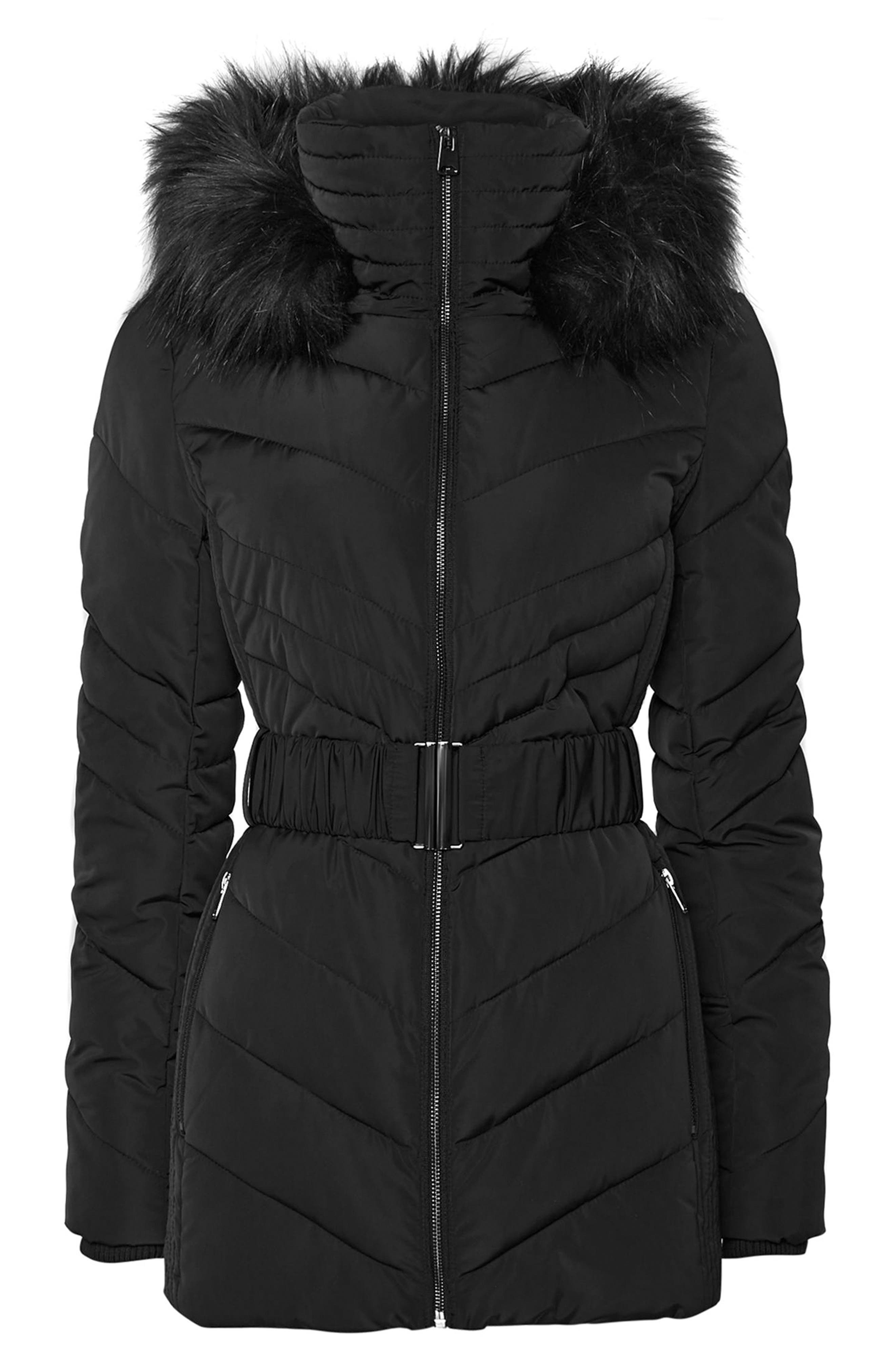 Water Repellent Quilted Puffer Coat with Faux Fur Trim,                             Alternate thumbnail 4, color,                             001
