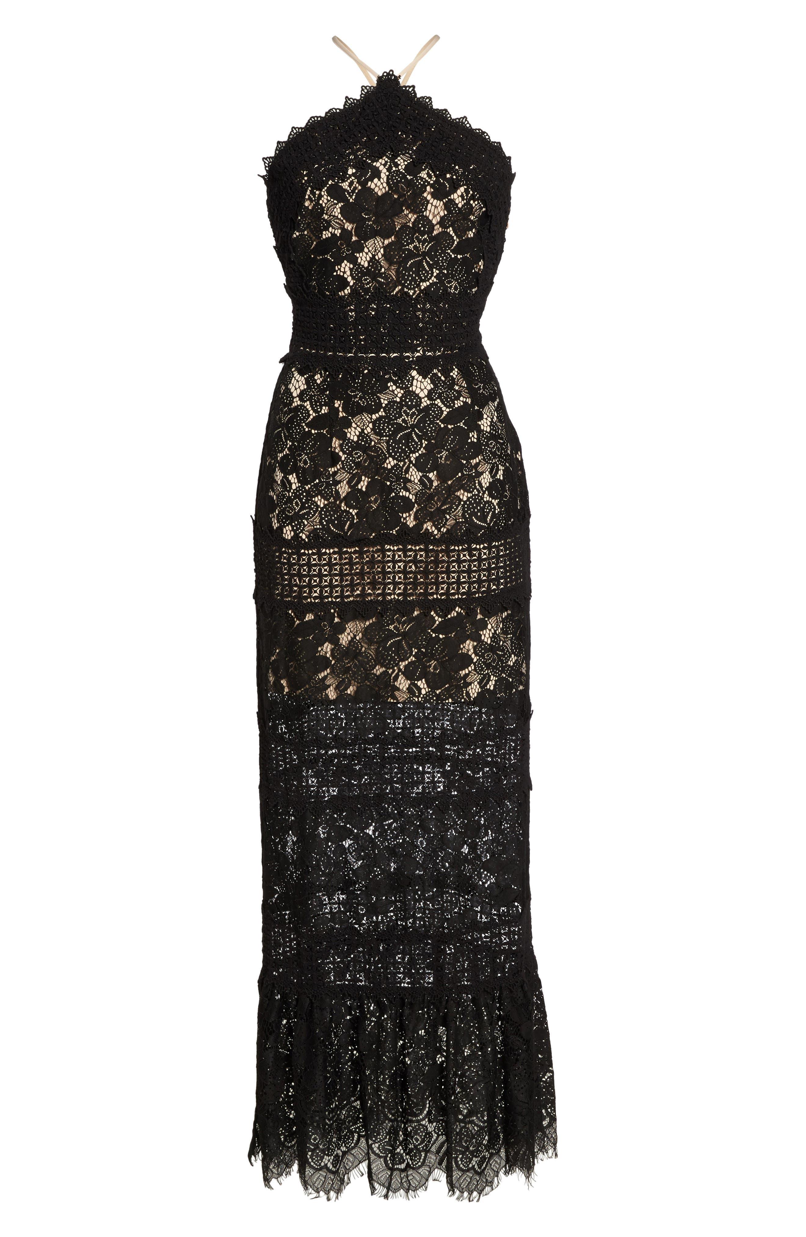 Tabitha Lace Maxi Dress,                             Alternate thumbnail 6, color,                             001