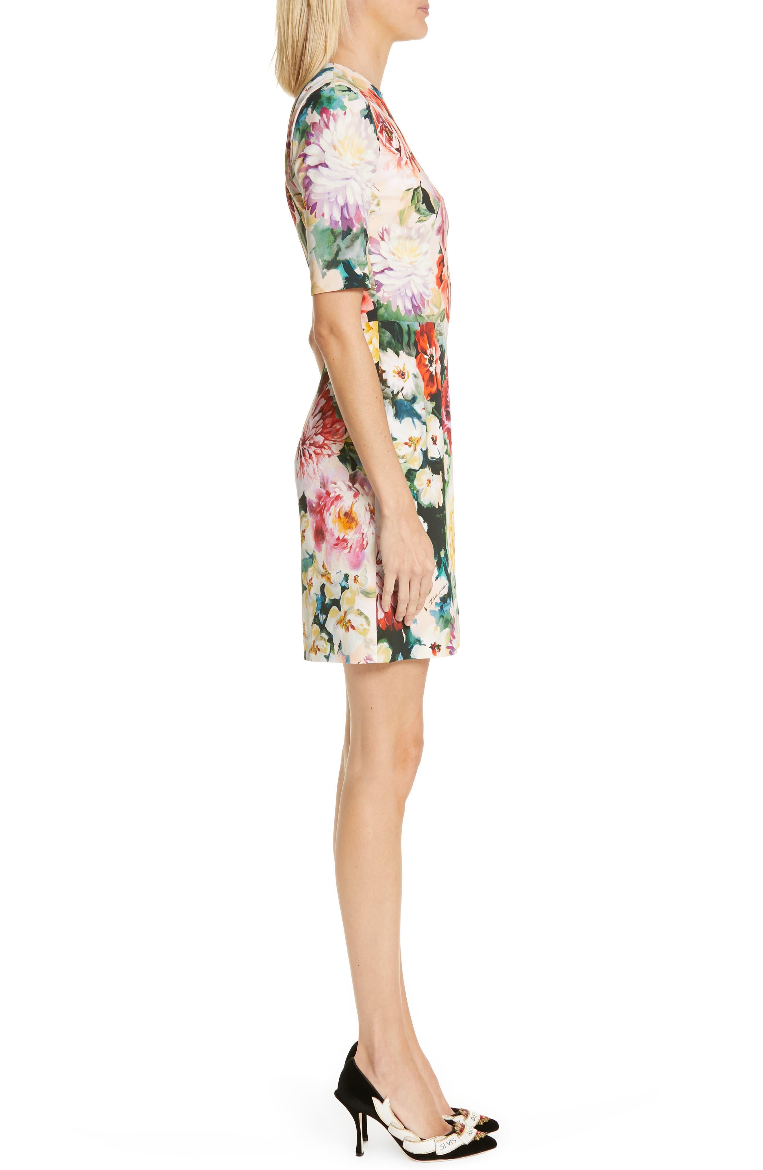 Floral Print Cady Dress,                             Alternate thumbnail 3, color,                             PINK FLORAL