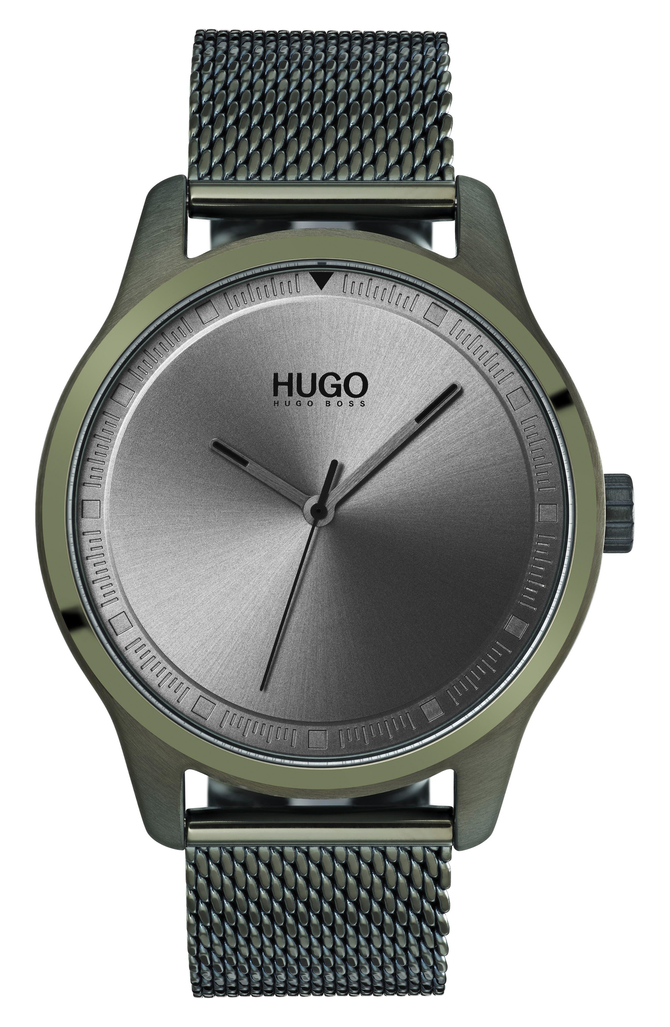 Move Mesh Strap Watch, 42mm,                             Main thumbnail 1, color,                             OLIVE GREEN/GREY