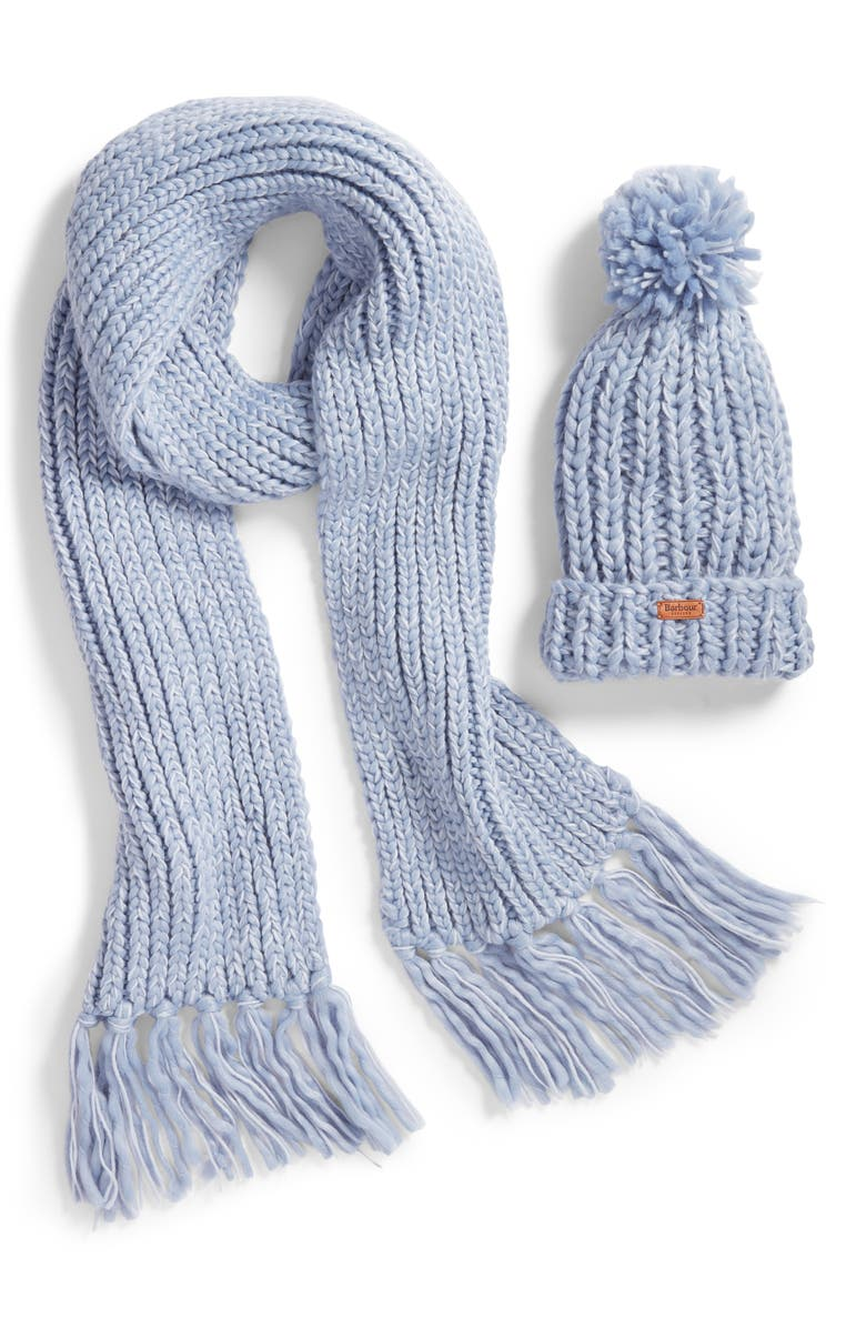 Shop Barbour Chunky Knit Hat   Scarf Set - Blue In Pale Blue 20b5a92befb