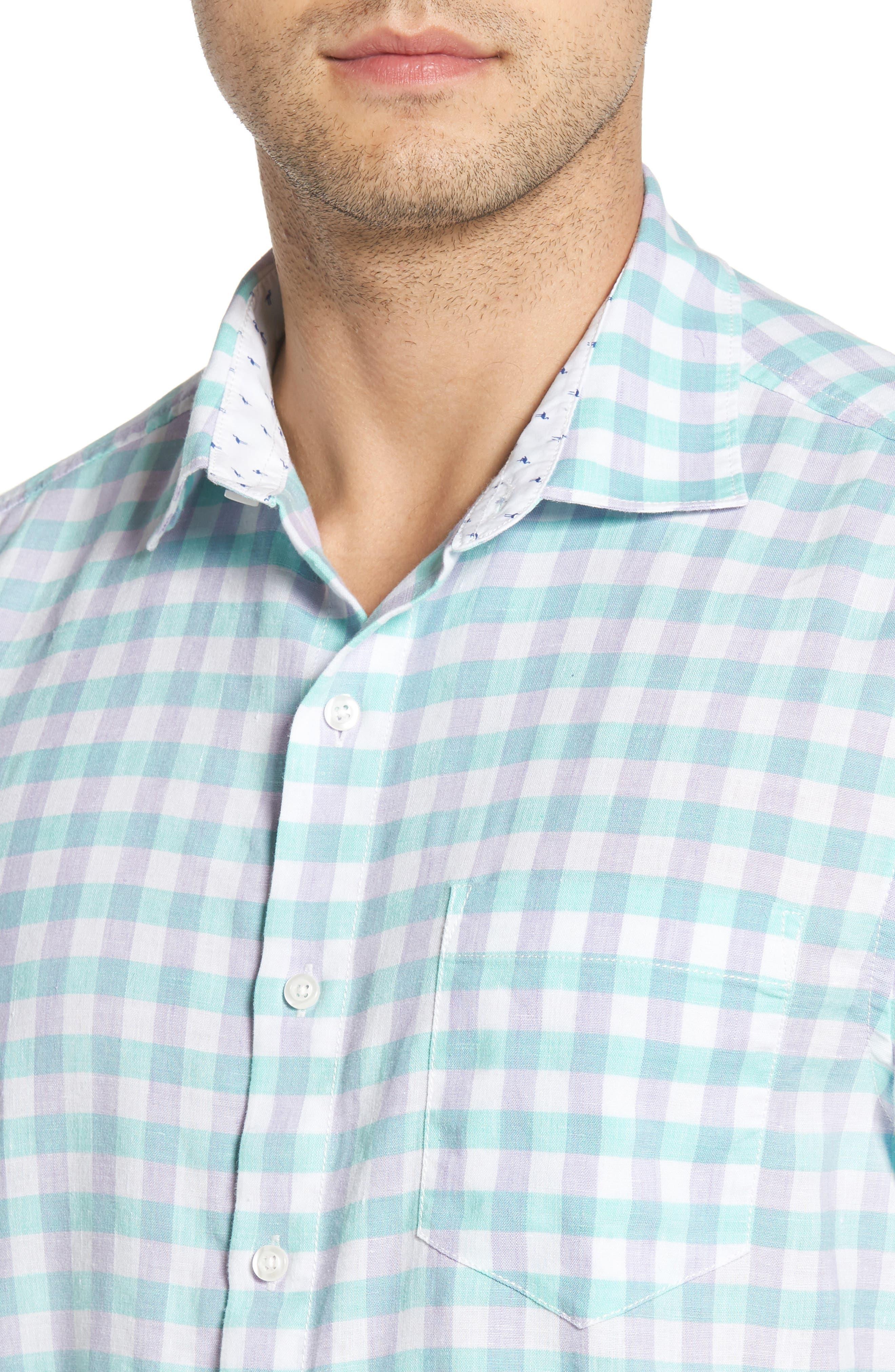 Gingham Del Toro Linen Blend Sport Shirt,                             Alternate thumbnail 8, color,