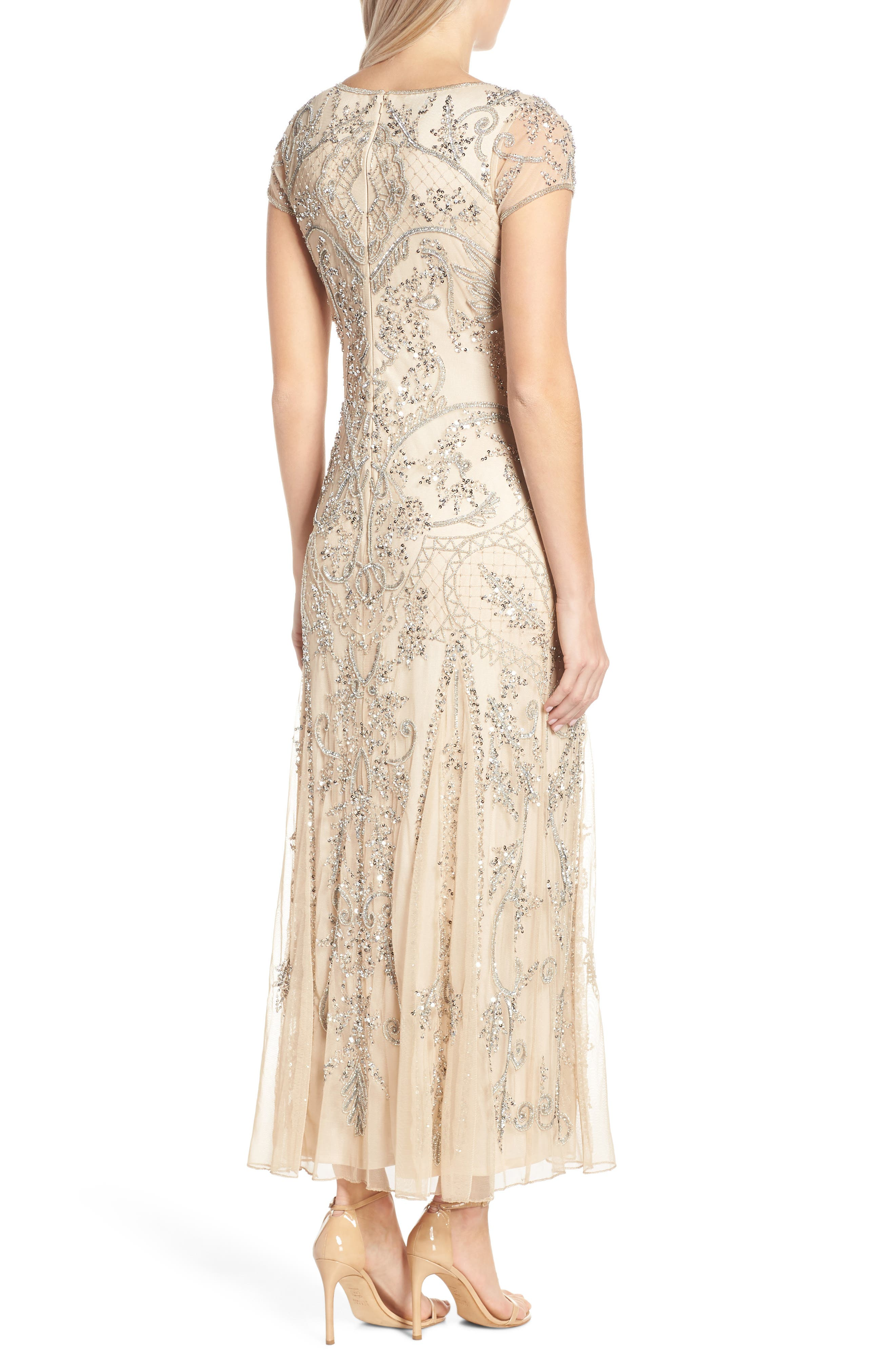 Embellished Mesh Gown,                             Alternate thumbnail 2, color,                             CHAMPAGNE/ SILVER