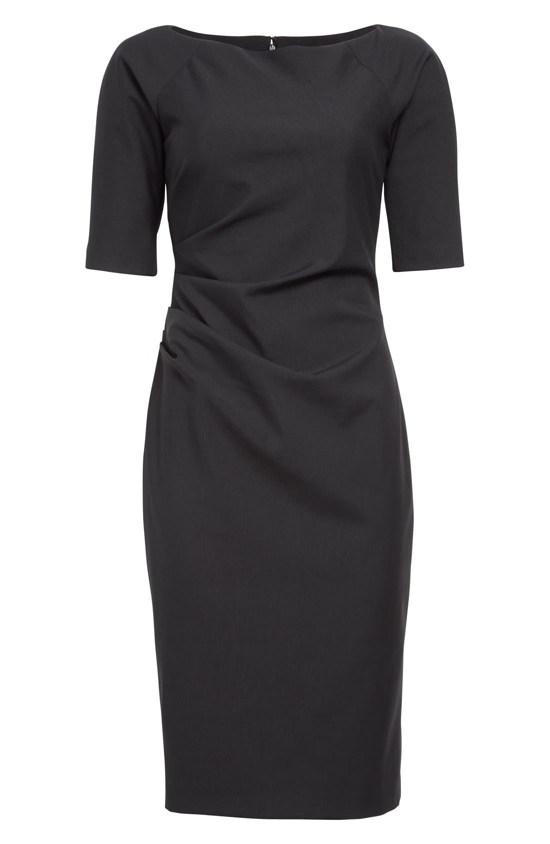 Side Ruched Stretch Twill Dress,                             Alternate thumbnail 8, color,                             BLACK