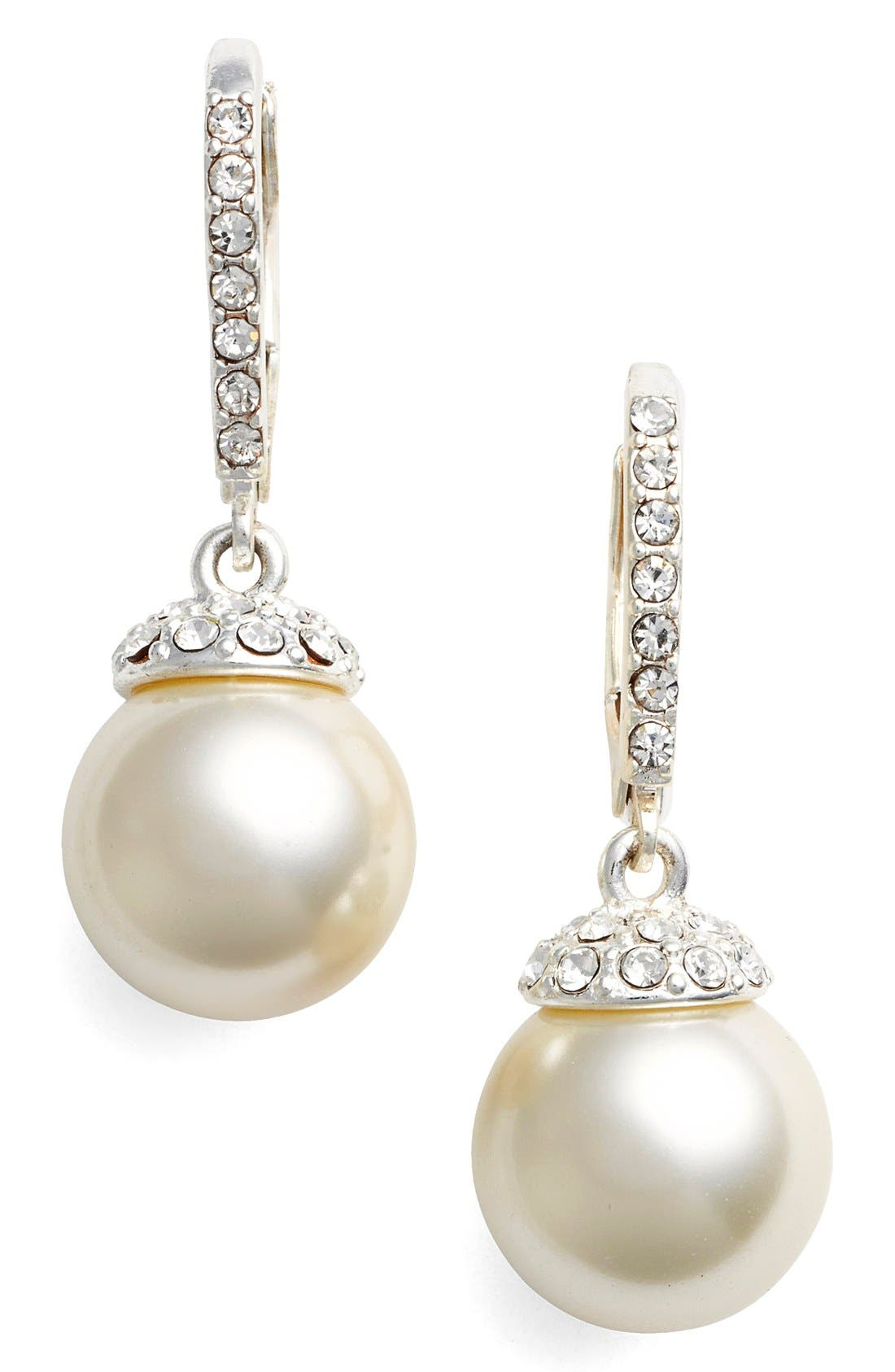 Imitation Pearl Drop Earrings,                         Main,                         color, SILVER