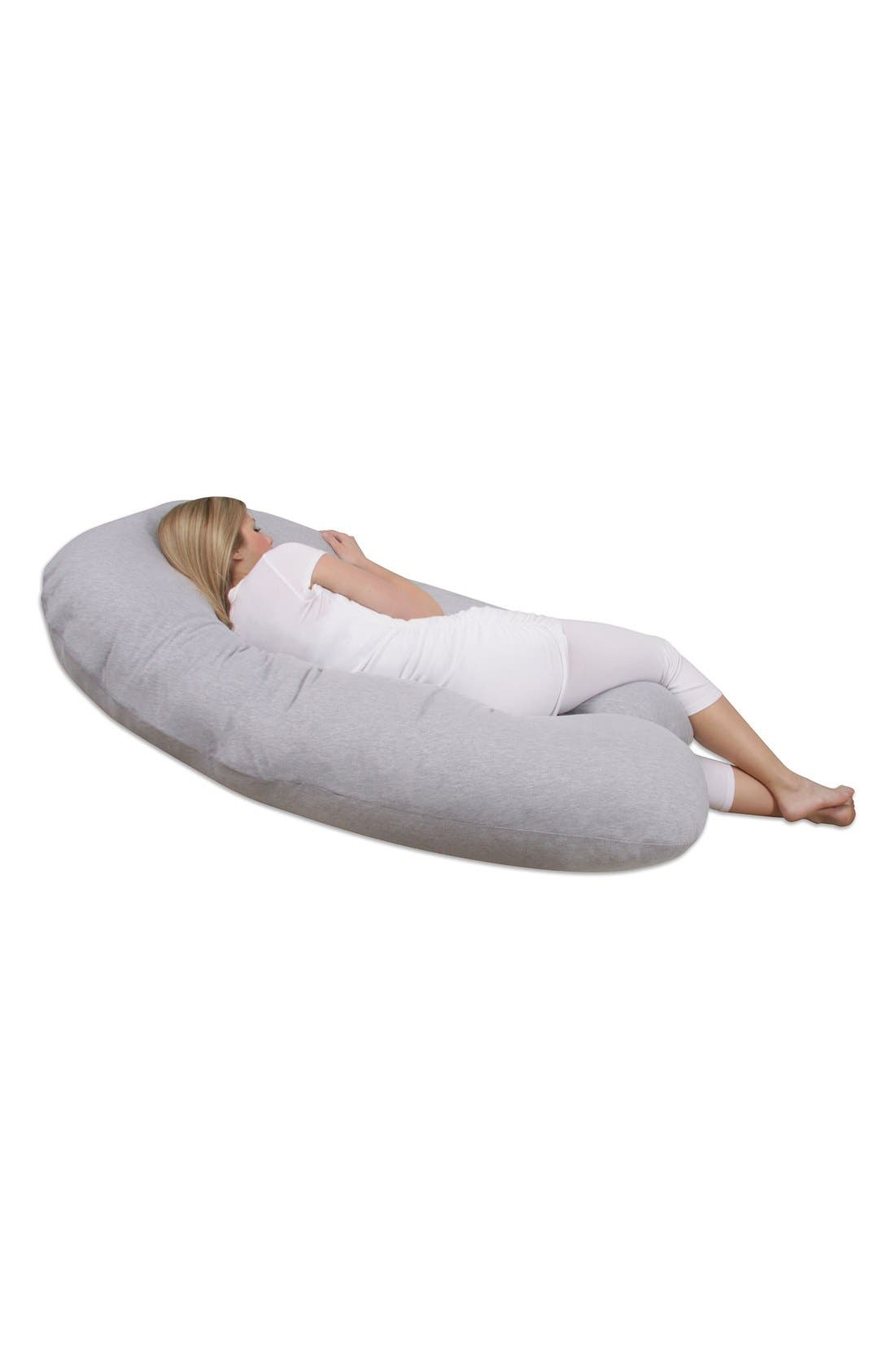 'Back 'N Belly<sup>®</sup> Chic' Contoured Pregnancy Support Pillow with Jersey Cover,                             Alternate thumbnail 3, color,                             HEATHER GREY
