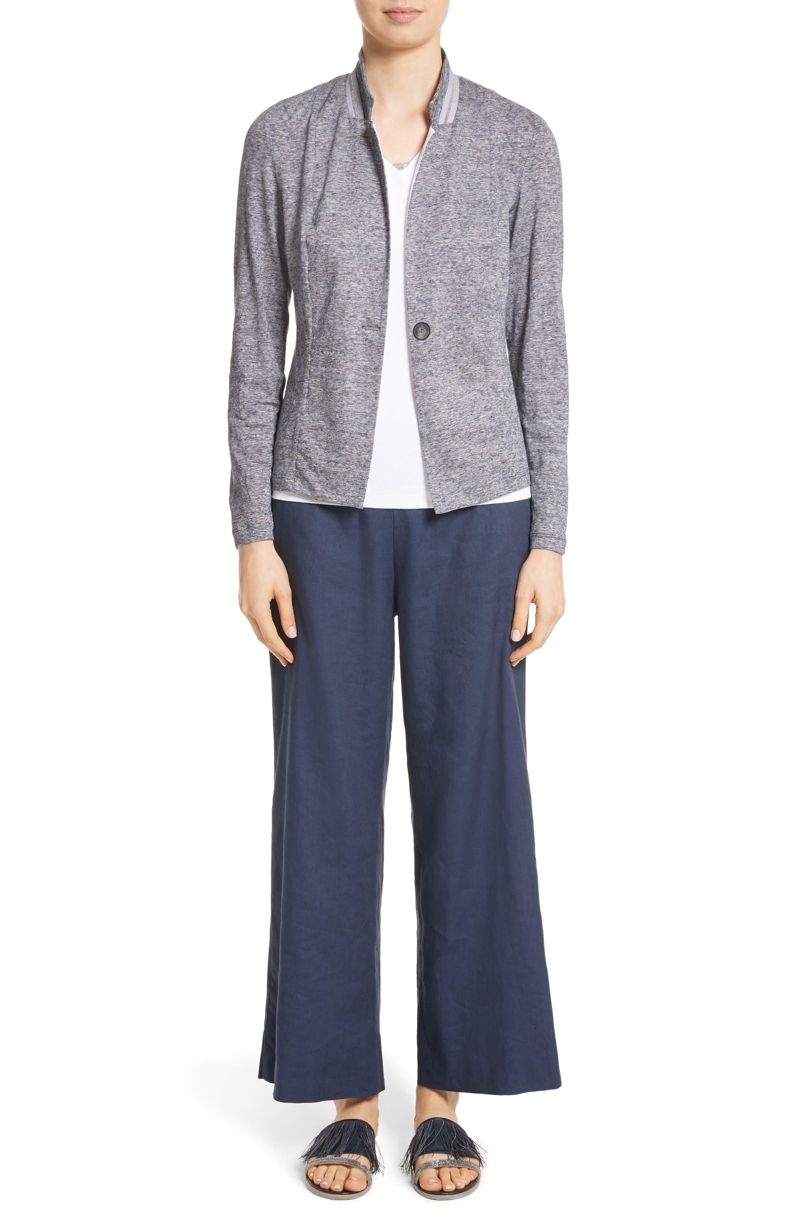 Grosgrain Stripe Jersey Jacket,                             Alternate thumbnail 7, color,                             400