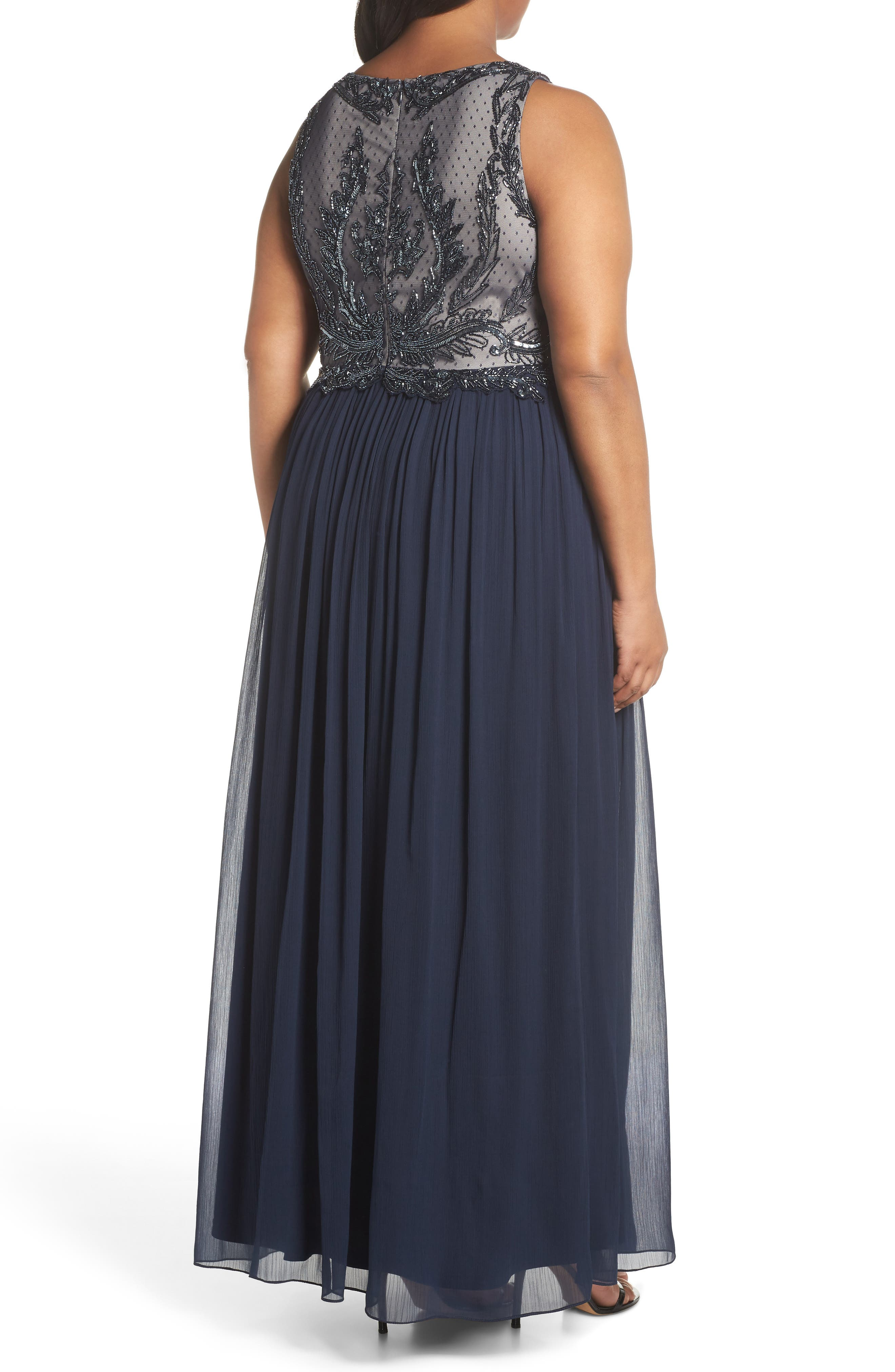 Beaded Bodice Chiffon Gown,                             Alternate thumbnail 2, color,                             412