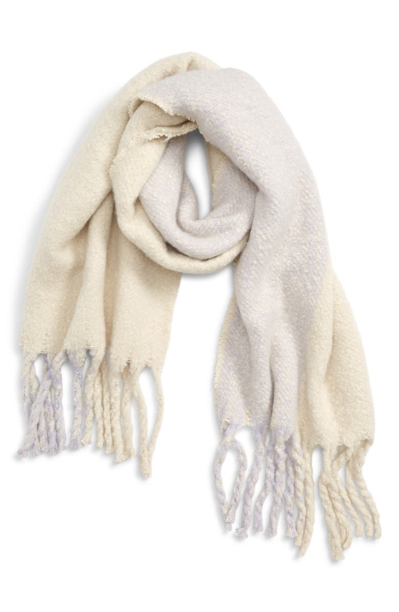 Tonal Fringe Scarf,                         Main,                         color, GREY IVORY