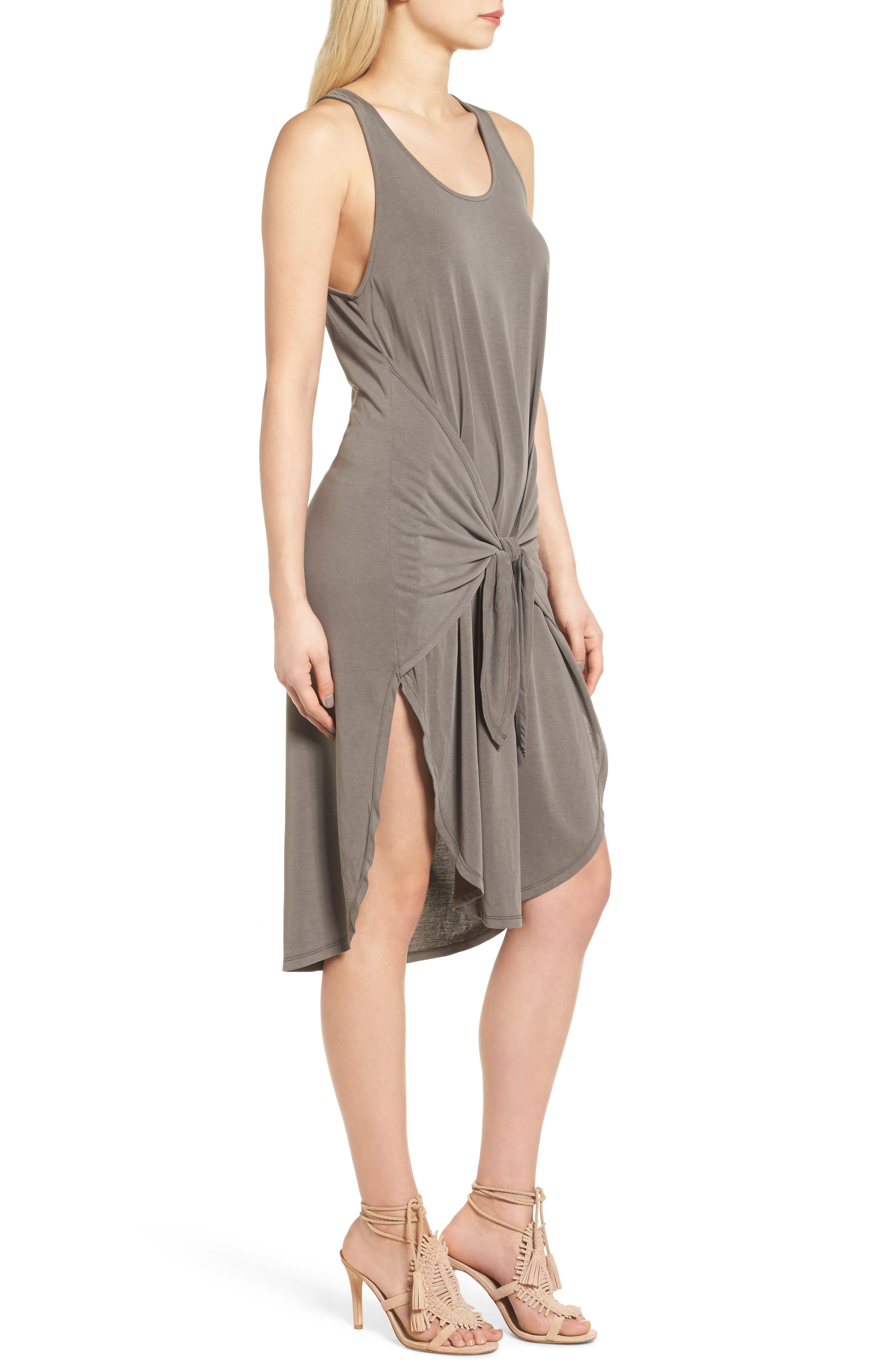 TROUVÉ,                             Tie Front Knit Dress,                             Alternate thumbnail 3, color,                             030