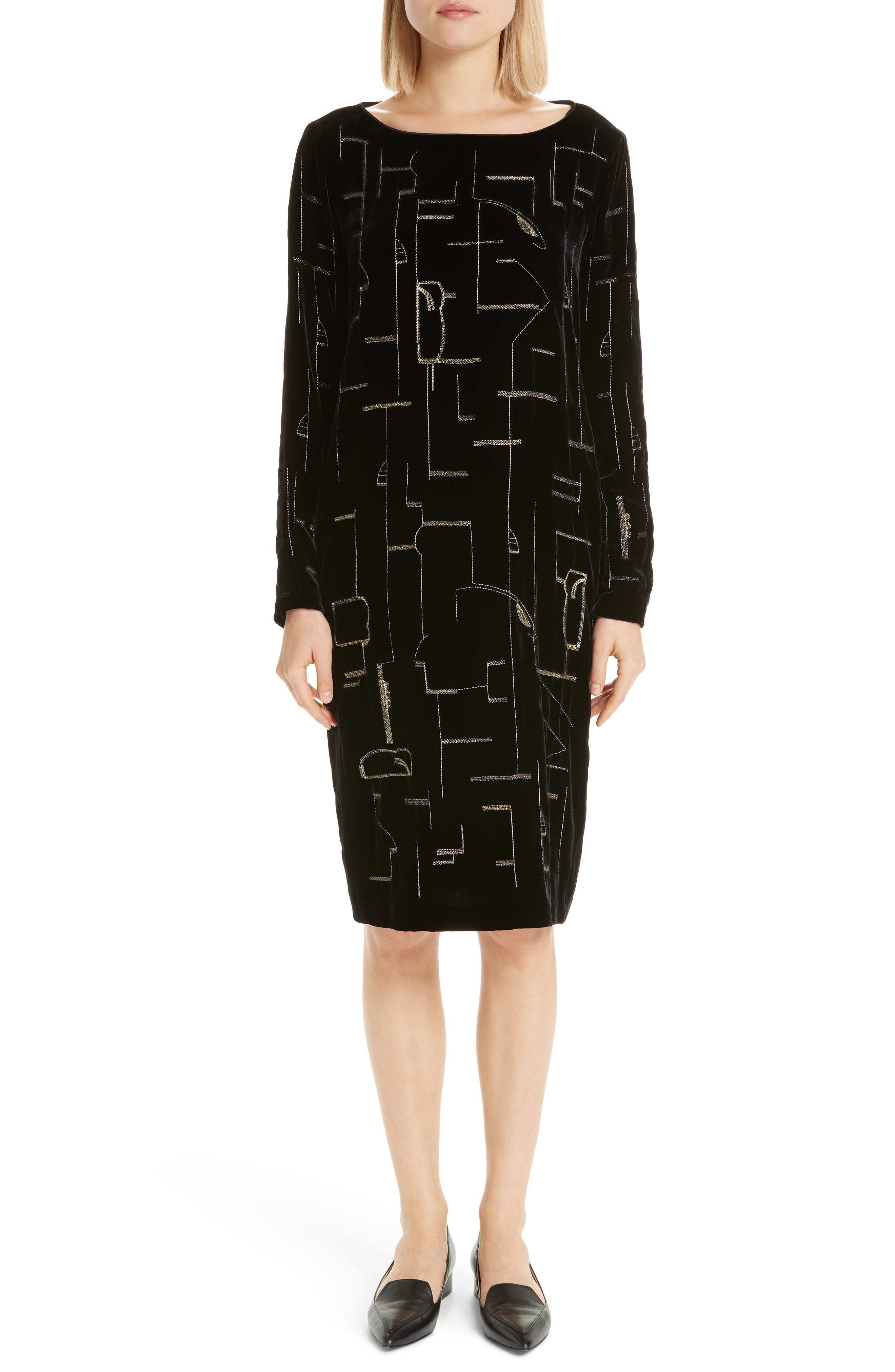 LAFAYETTE 148 NEW YORK,                             Cressida Embellished Velvet Dress,                             Main thumbnail 1, color,                             BLACK MULTI