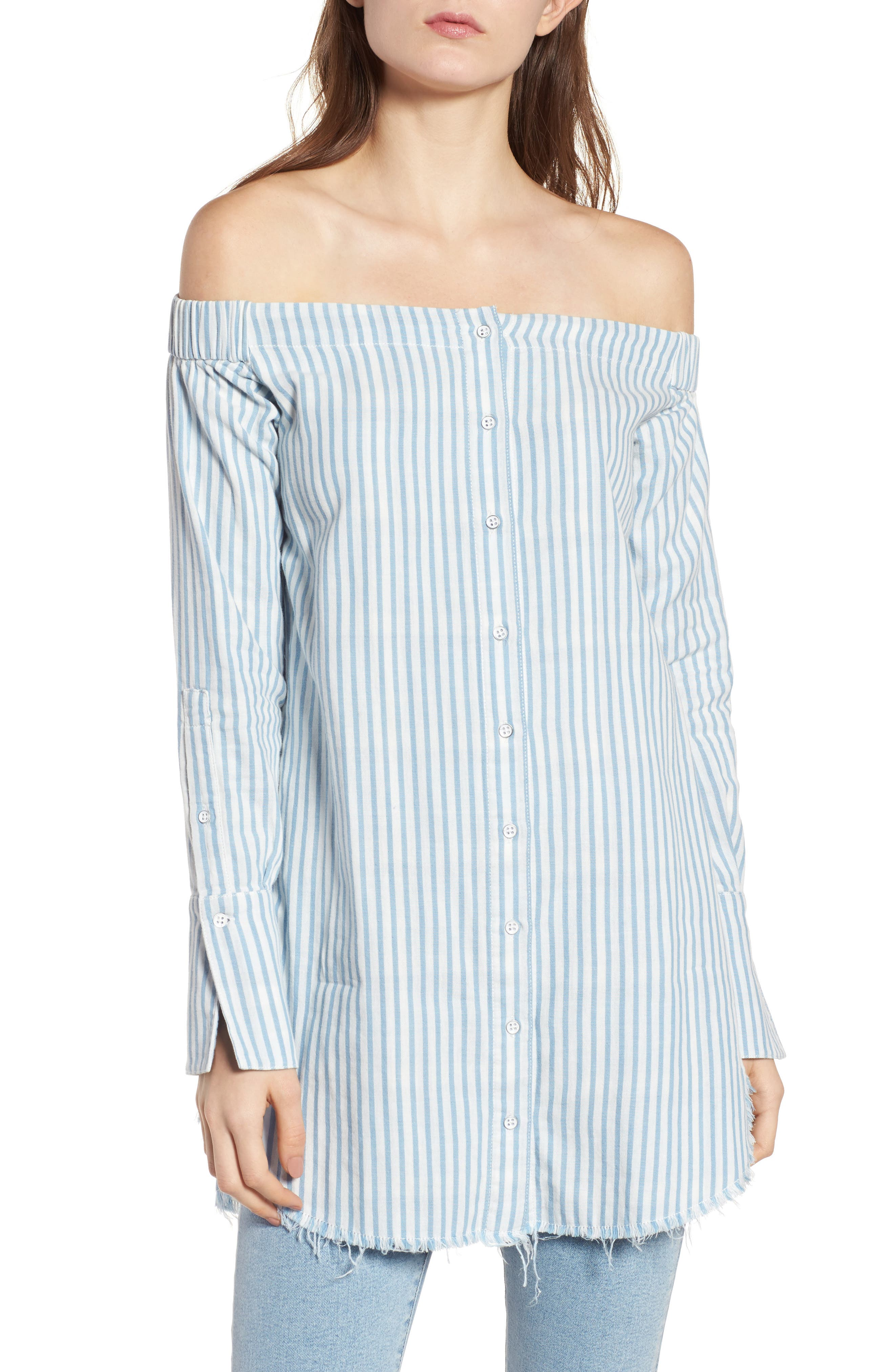 Adelphi & Willoughby Off the Shoulder Shirt,                         Main,                         color, 430