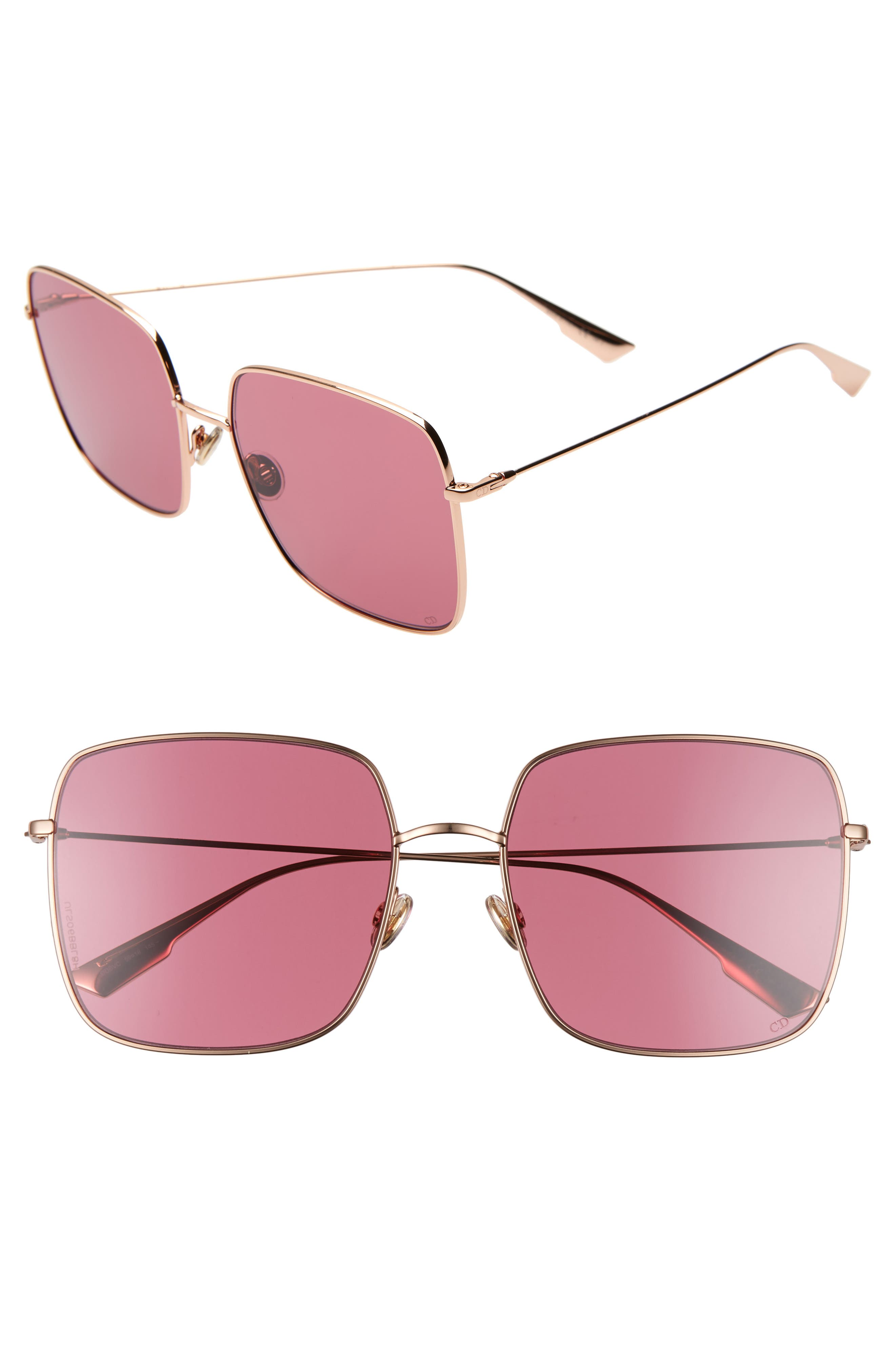 Stellaire 59mm Square Sunglasses,                             Main thumbnail 1, color,                             GOLD/ WINE