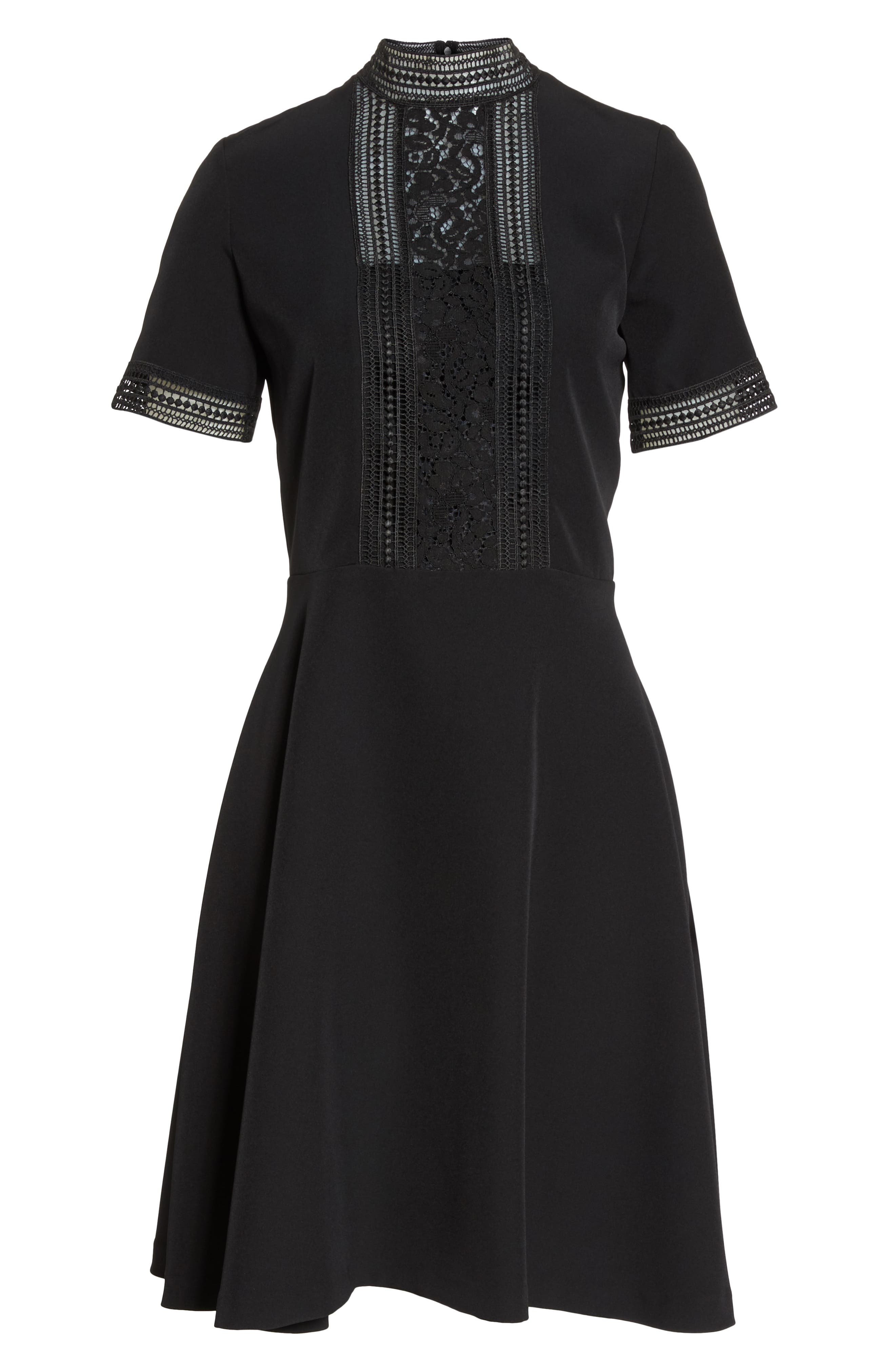 Lace Inset Fit & Flare Crepe Dress,                             Alternate thumbnail 7, color,                             001