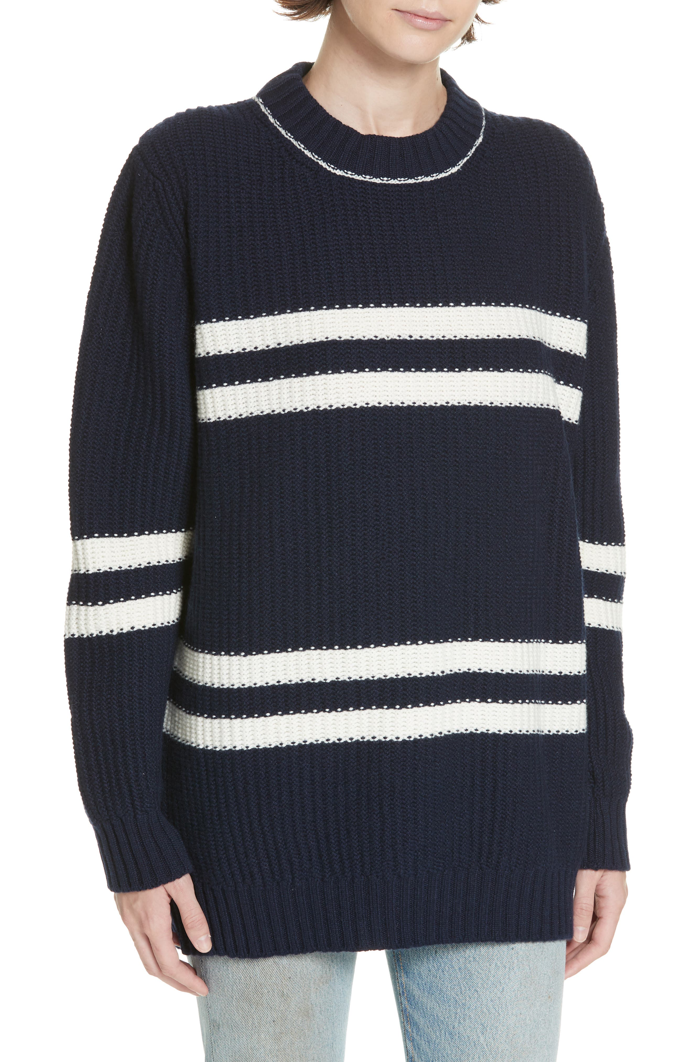 Tieve Stripe Cashmere & Cotton Sweater,                             Main thumbnail 1, color,                             NAVY/ ECRU