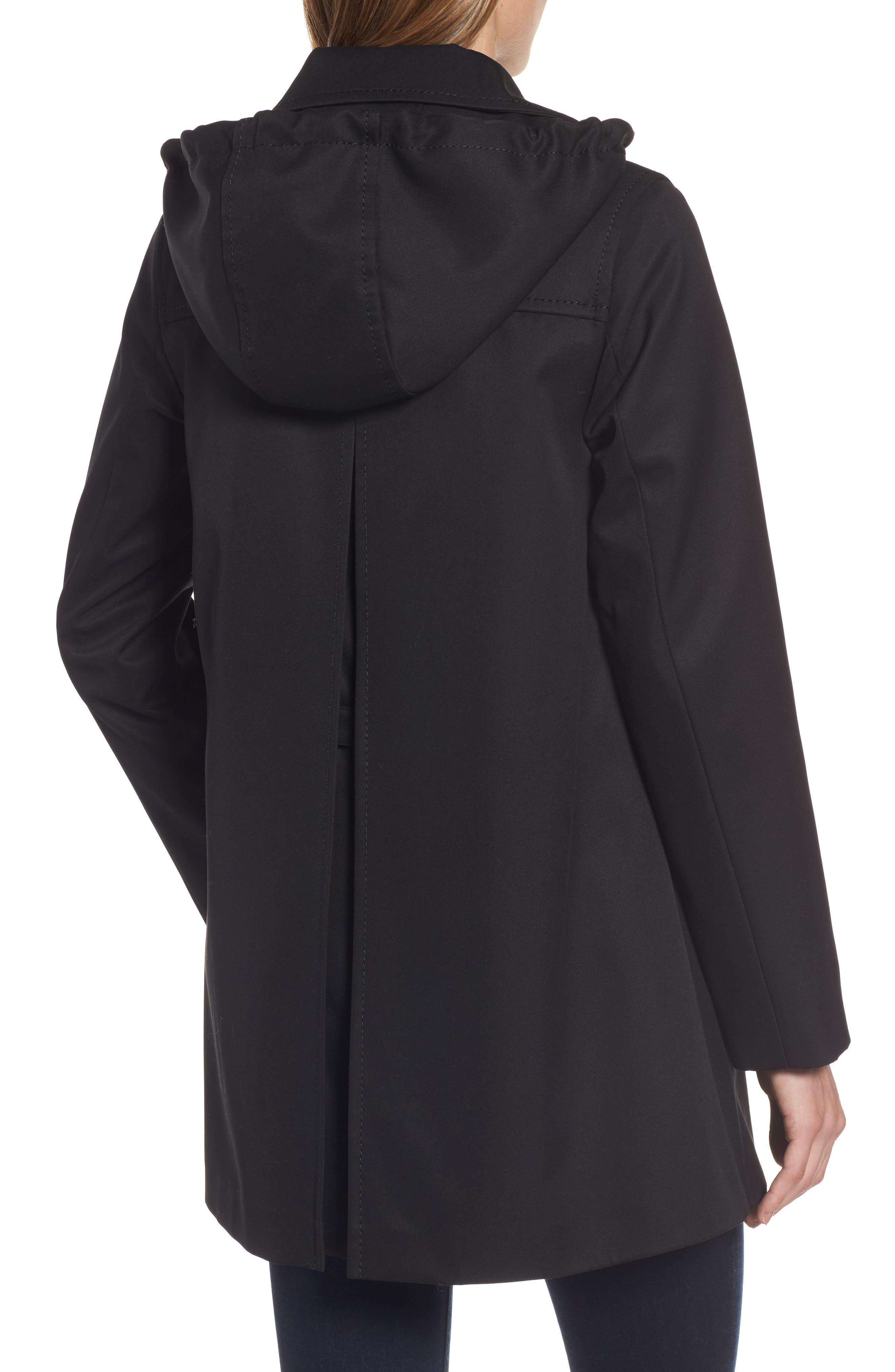 scallop pocket a-line raincoat,                             Alternate thumbnail 2, color,                             001