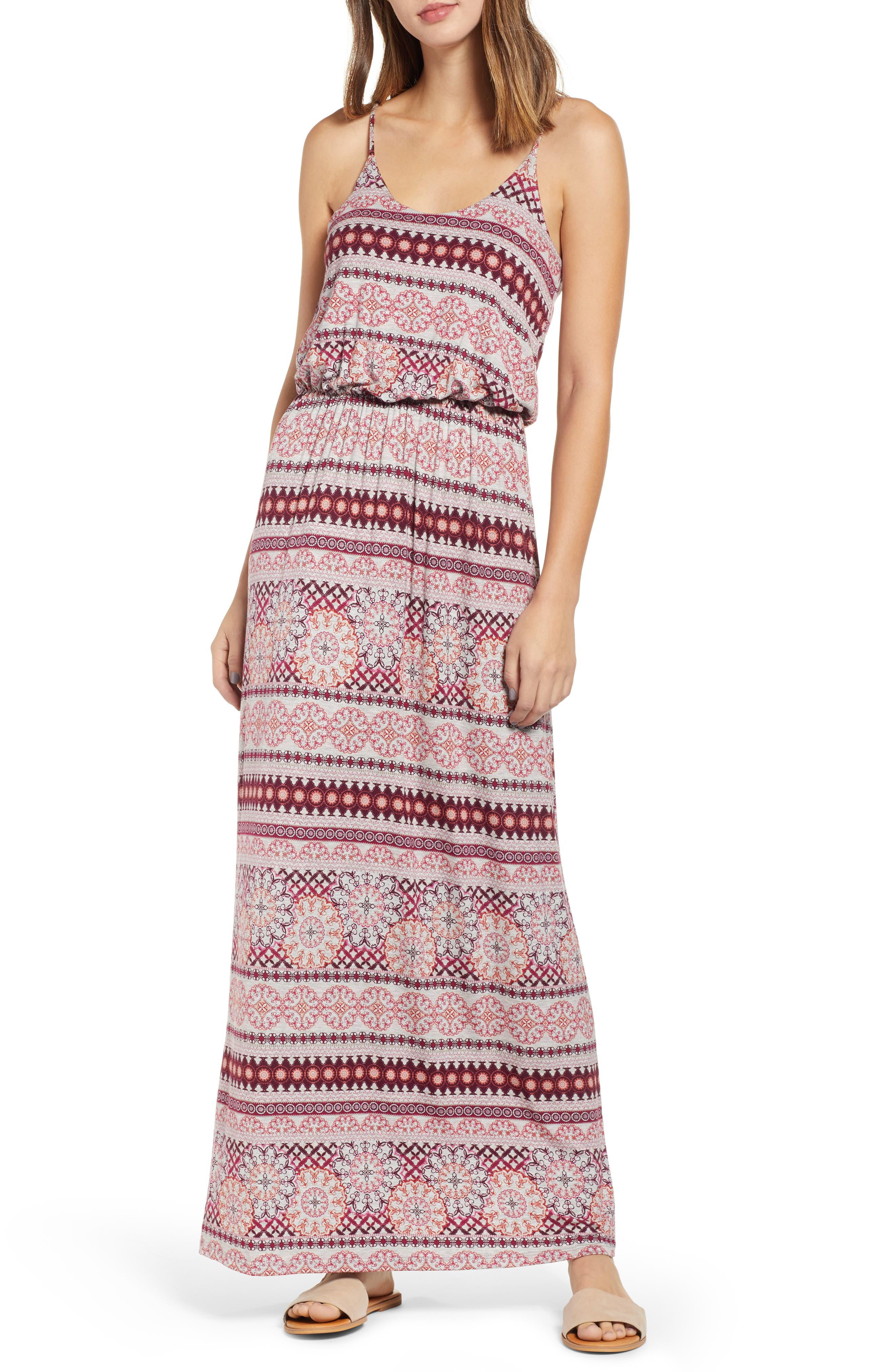 Knit Maxi Dress,                             Main thumbnail 1, color,                             HEATHERGREY/ CORAL