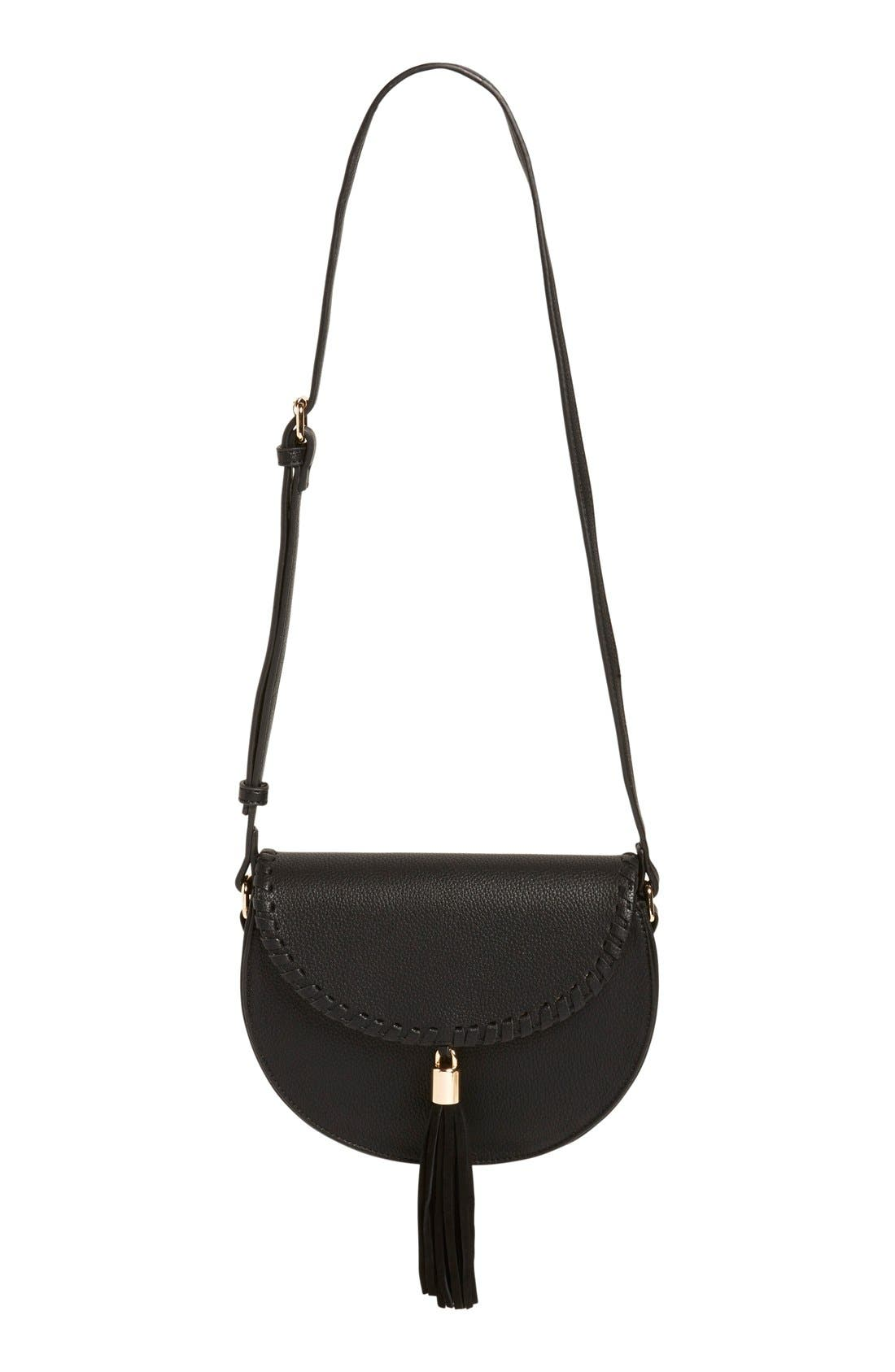 STREET LEVEL Tassel Flap Crossbody Bag, Main, color, 001