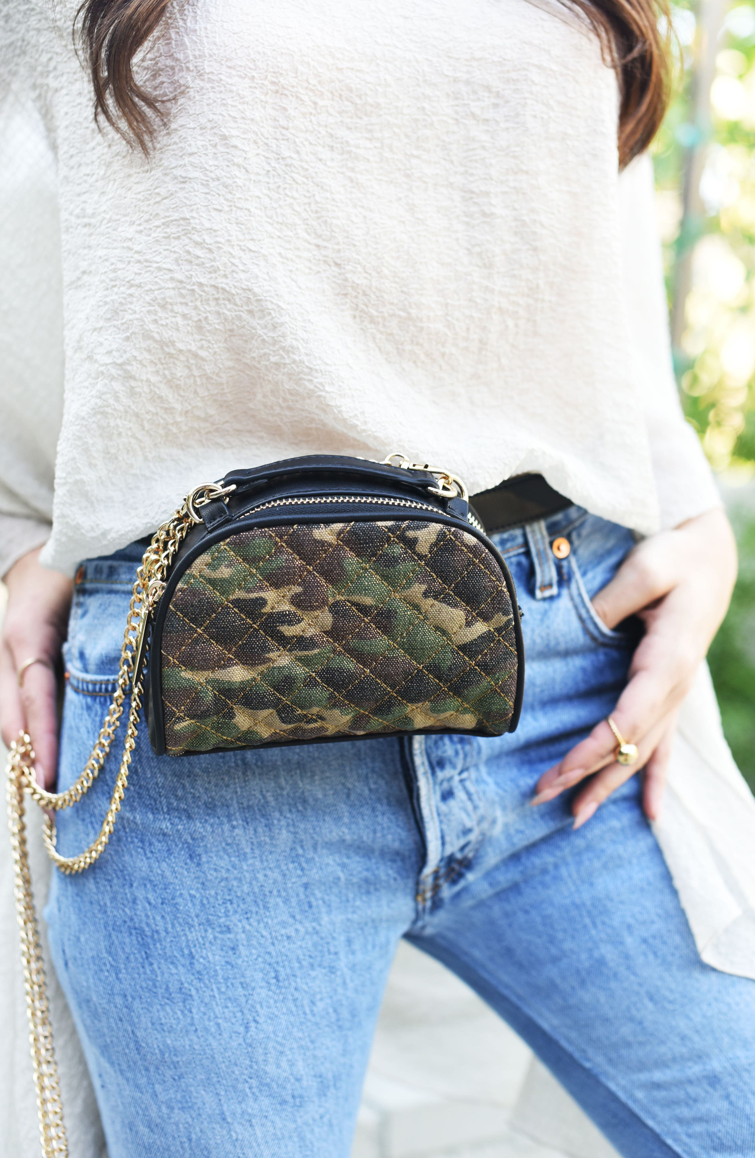Mali + Lili Quilted Camouflage Belt Bag,                             Alternate thumbnail 9, color,                             340