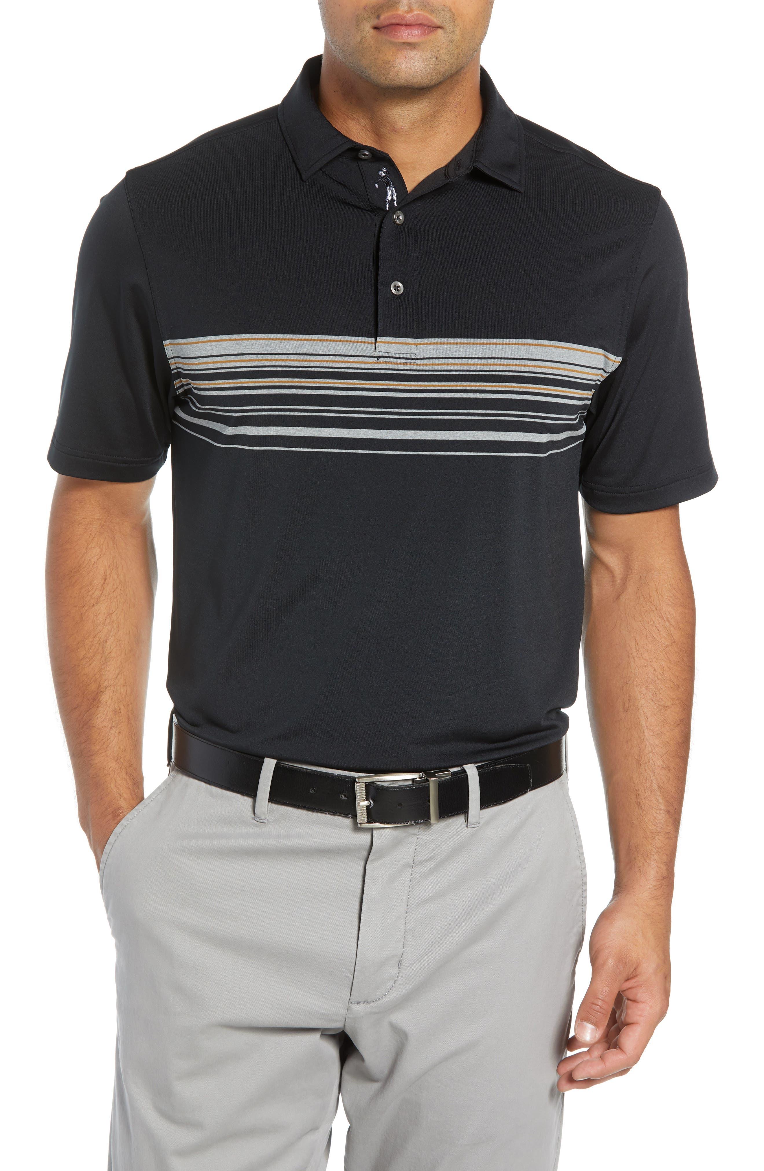 BOBBY JONES Xh20 Gable Stripe Jersey Polo in Black