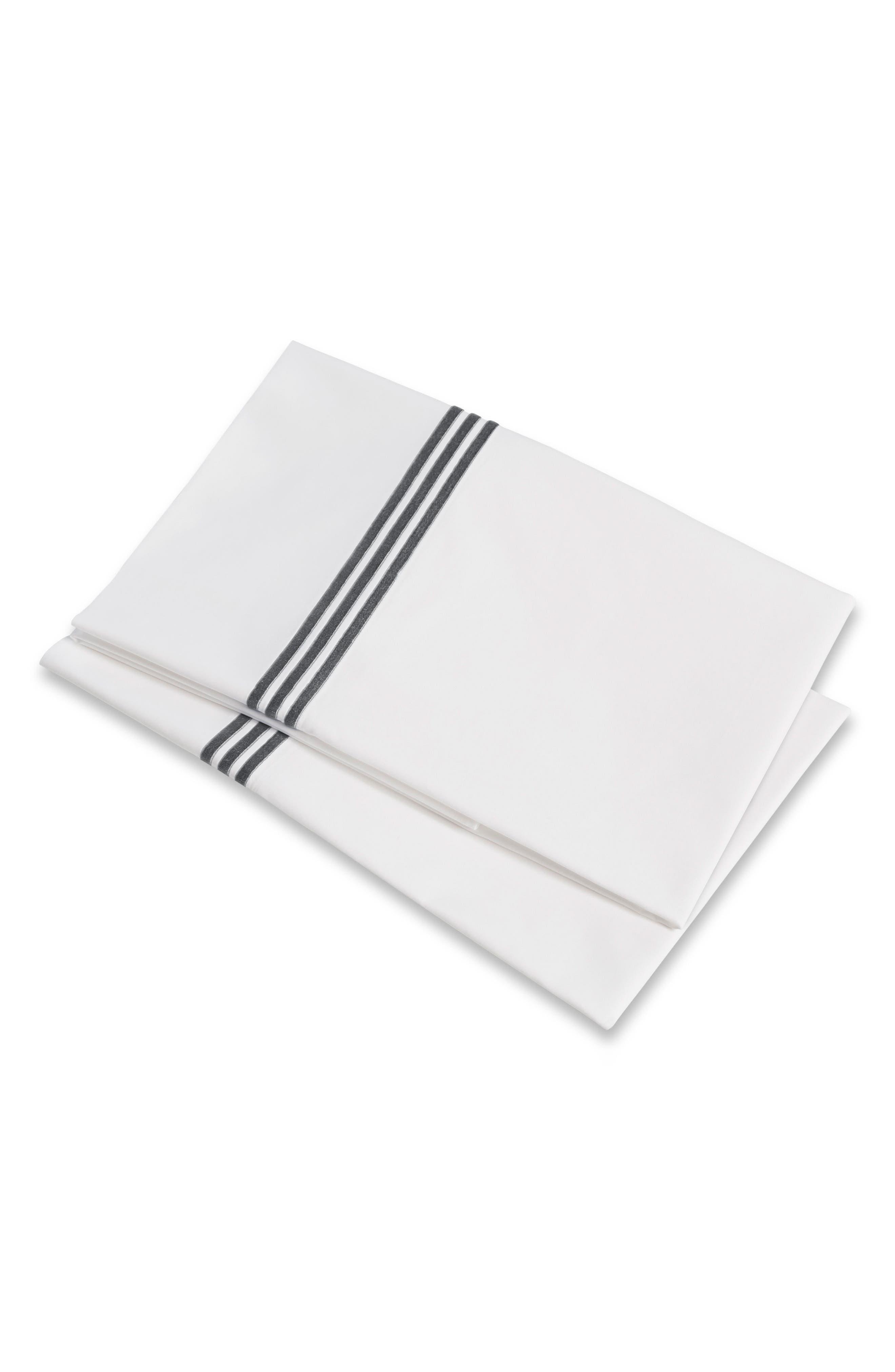 Platinum 400 Thread Count Set of 2 Pillowcases, Main, color, LEAD GREY