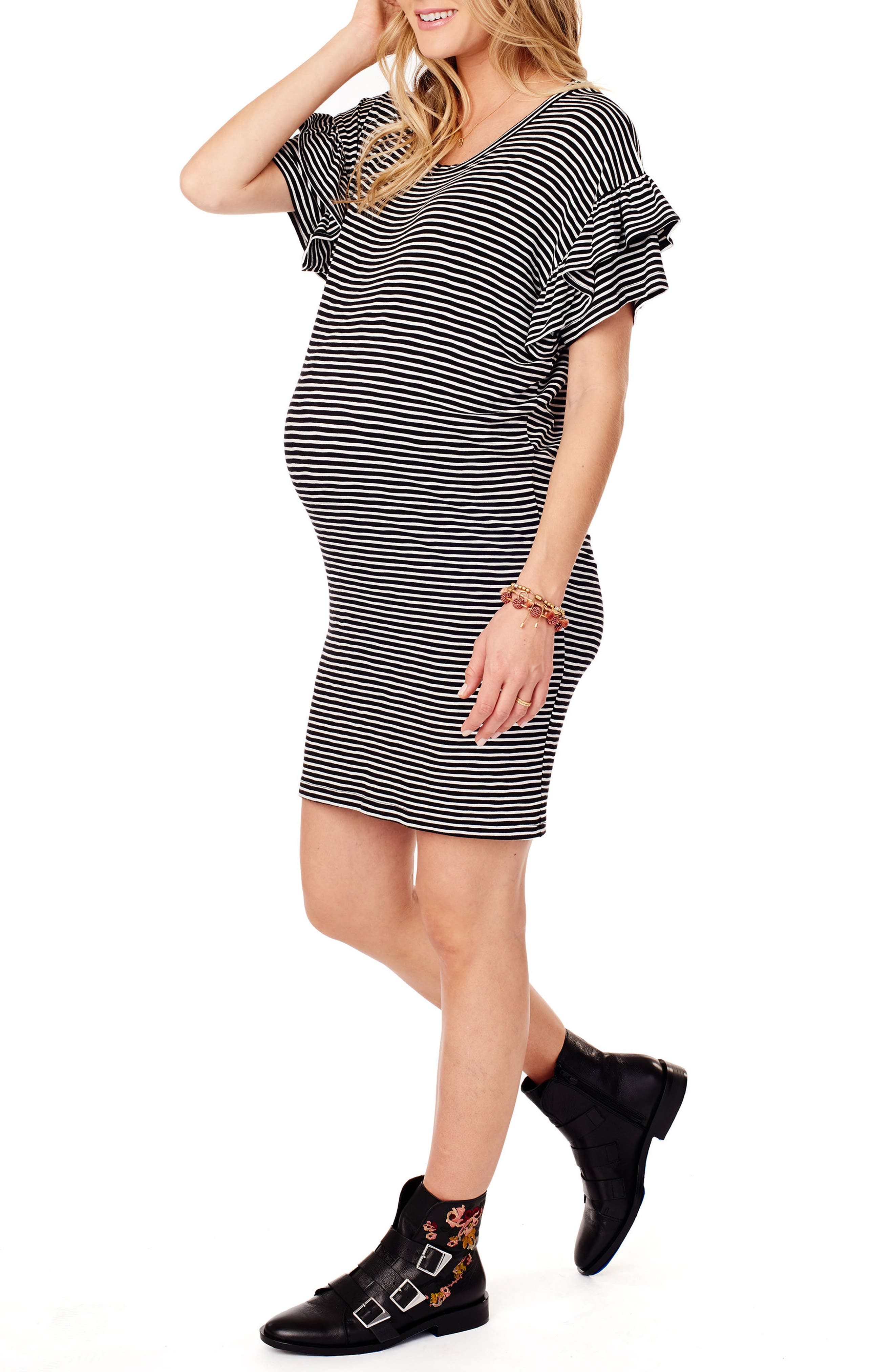 Ruffle Sleeve Maternity T-Shirt Dress,                             Alternate thumbnail 3, color,                             BLACK/ WHITE STRIPE