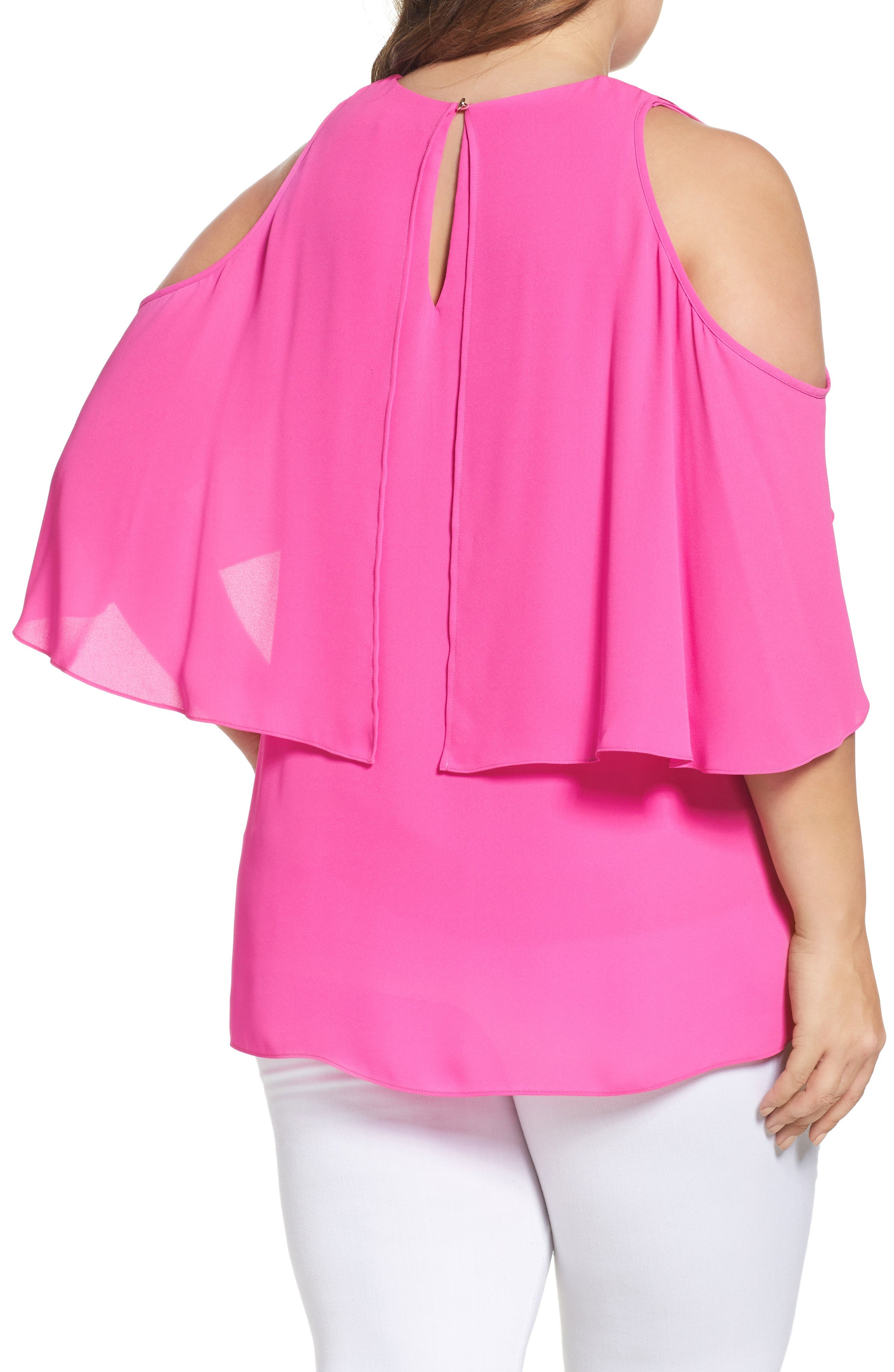 Cold Shoulder Ruffled Blouse,                             Alternate thumbnail 10, color,