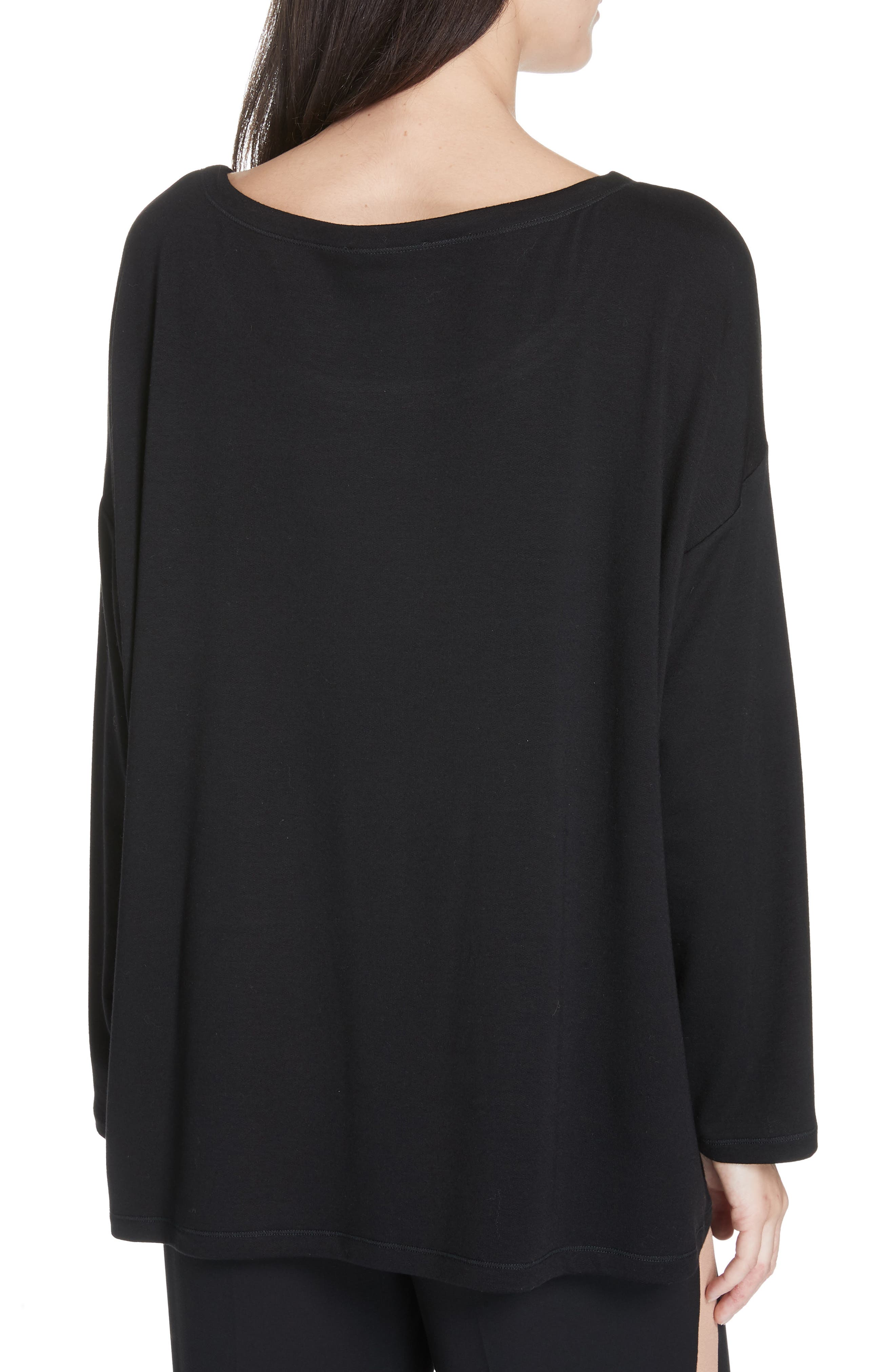 EILEEN FISHER, Stretch Terry Top, Alternate thumbnail 2, color, BLACK