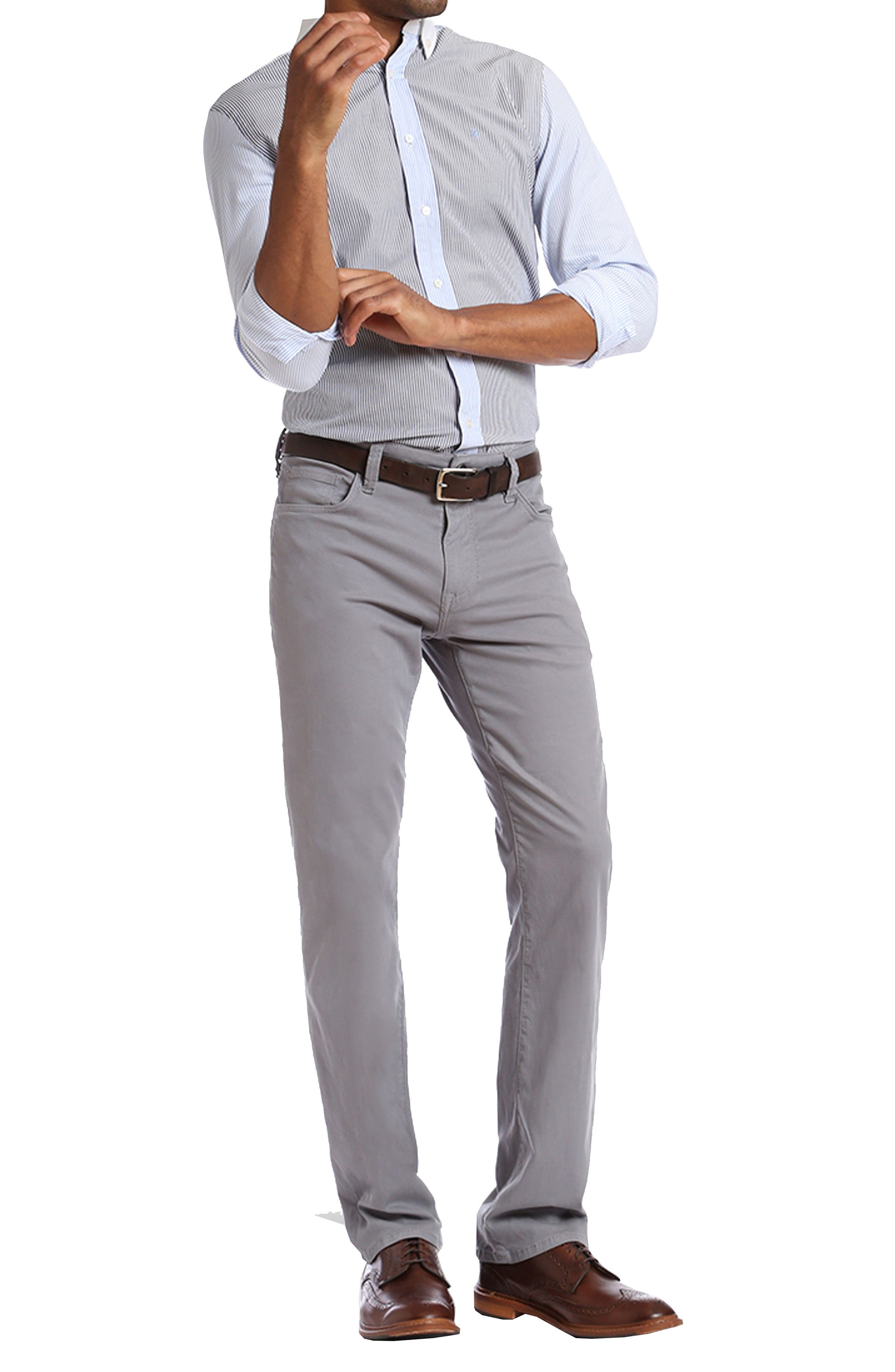 Courage Straight Leg Twill Pants,                             Alternate thumbnail 4, color,                             GREY FINE TWILL
