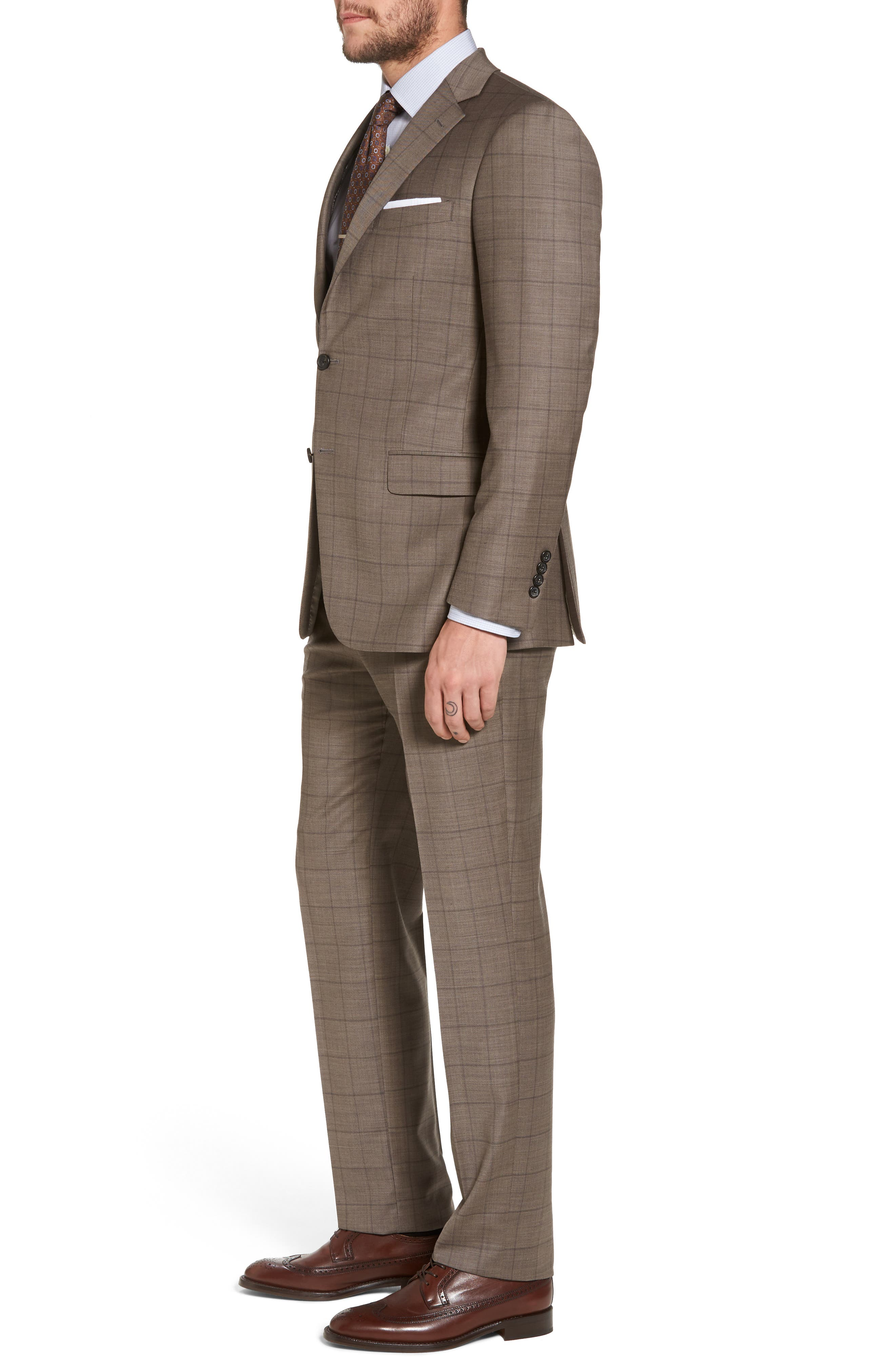 New York Classic Fit Stretch Windowpane Wool Suit,                             Alternate thumbnail 3, color,                             210