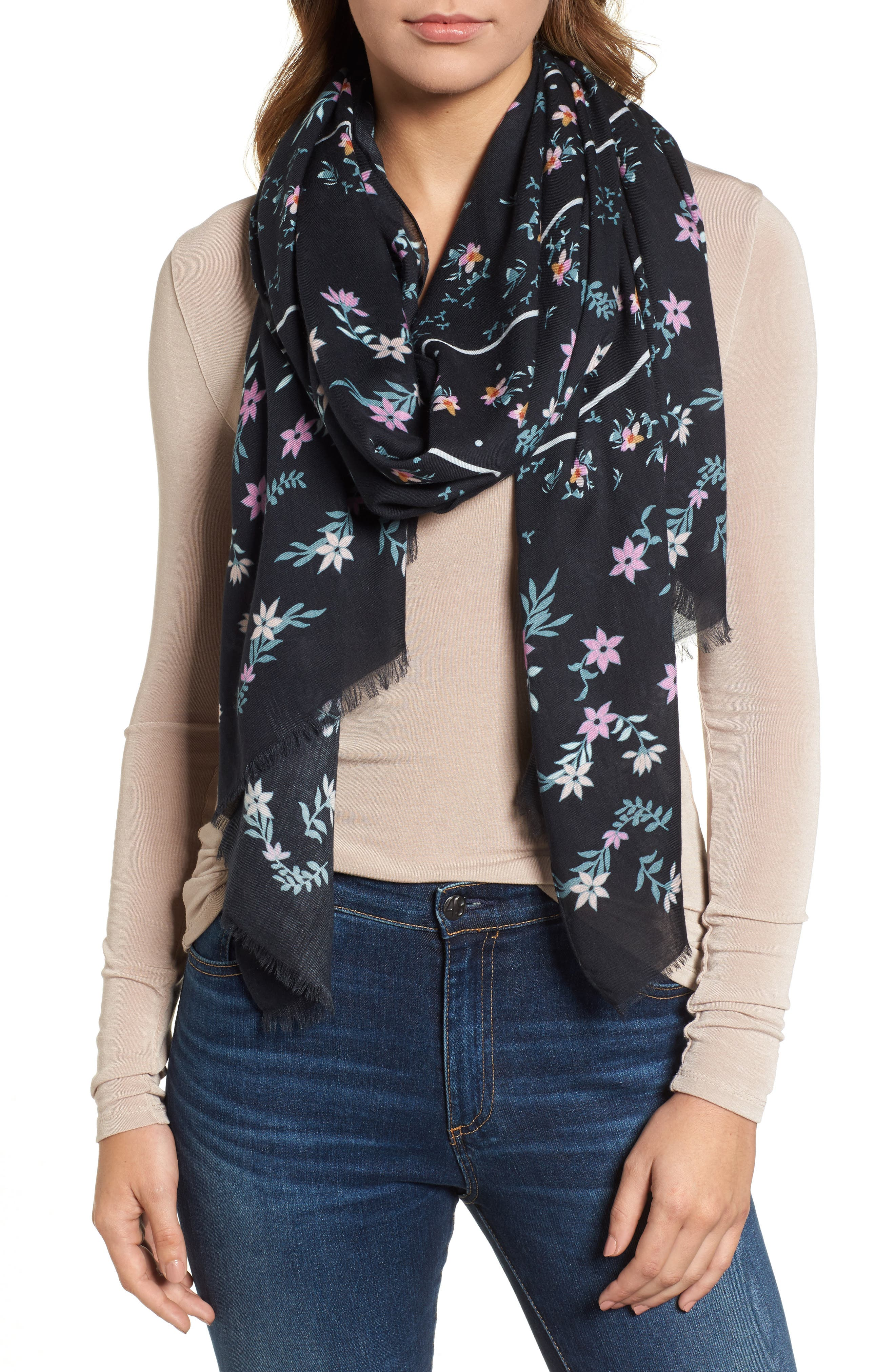 Twilight Floral Scarf,                             Main thumbnail 1, color,                             BLACK