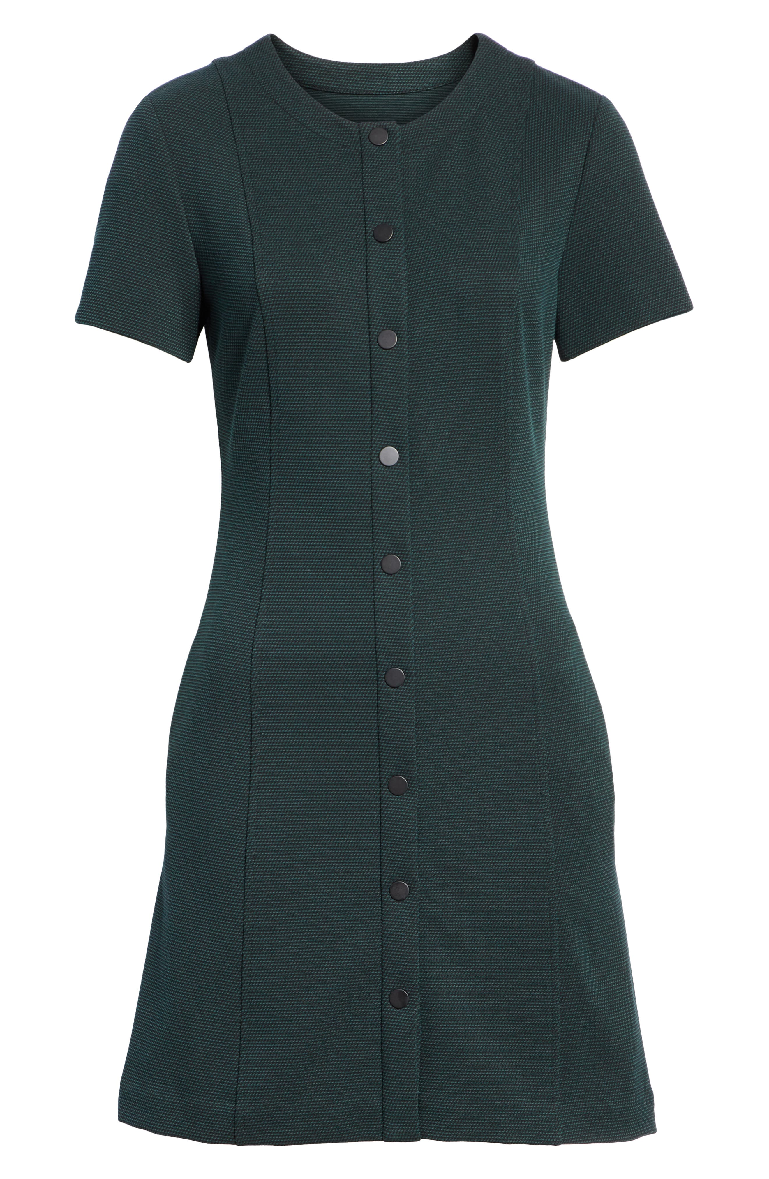 Easy Snap Textured Dress,                             Alternate thumbnail 6, color,                             GREEN POPLAR/ POP NAVY